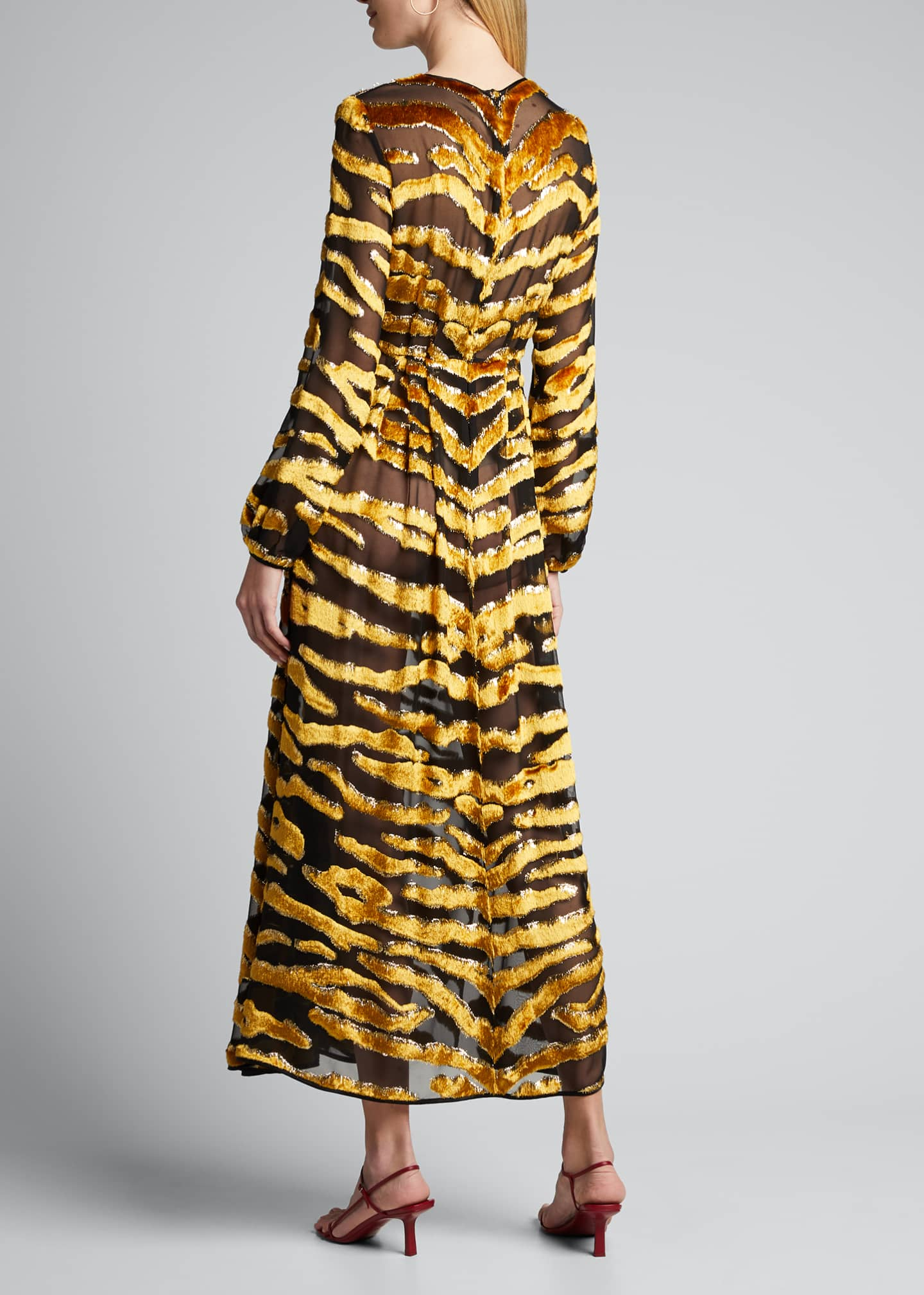 Image 2 of 5: Tiger-Striped Velvet Burnout Dress