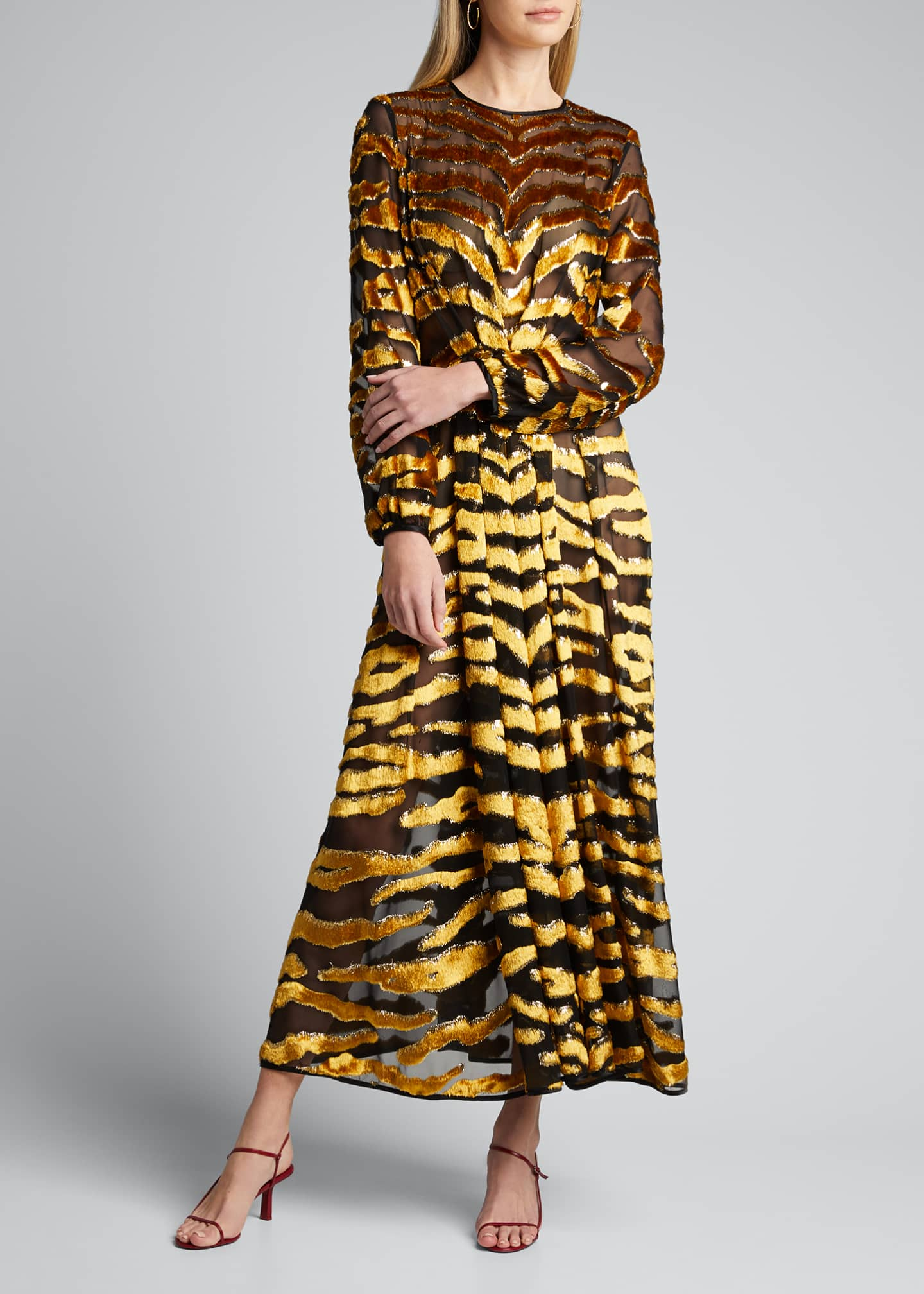 Image 3 of 5: Tiger-Striped Velvet Burnout Dress