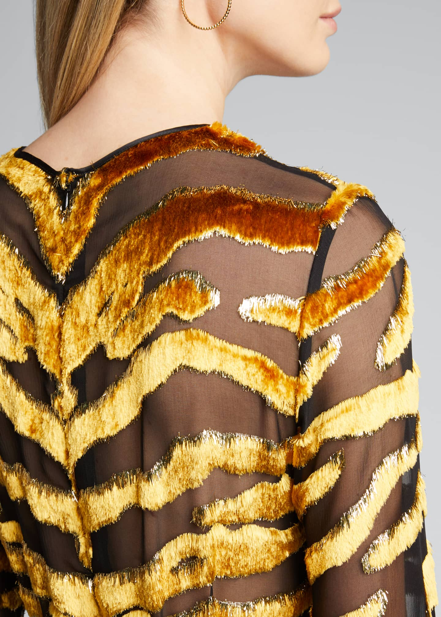 Image 4 of 5: Tiger-Striped Velvet Burnout Dress