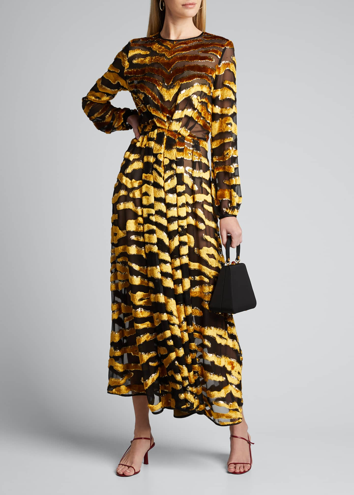 Image 1 of 5: Tiger-Striped Velvet Burnout Dress