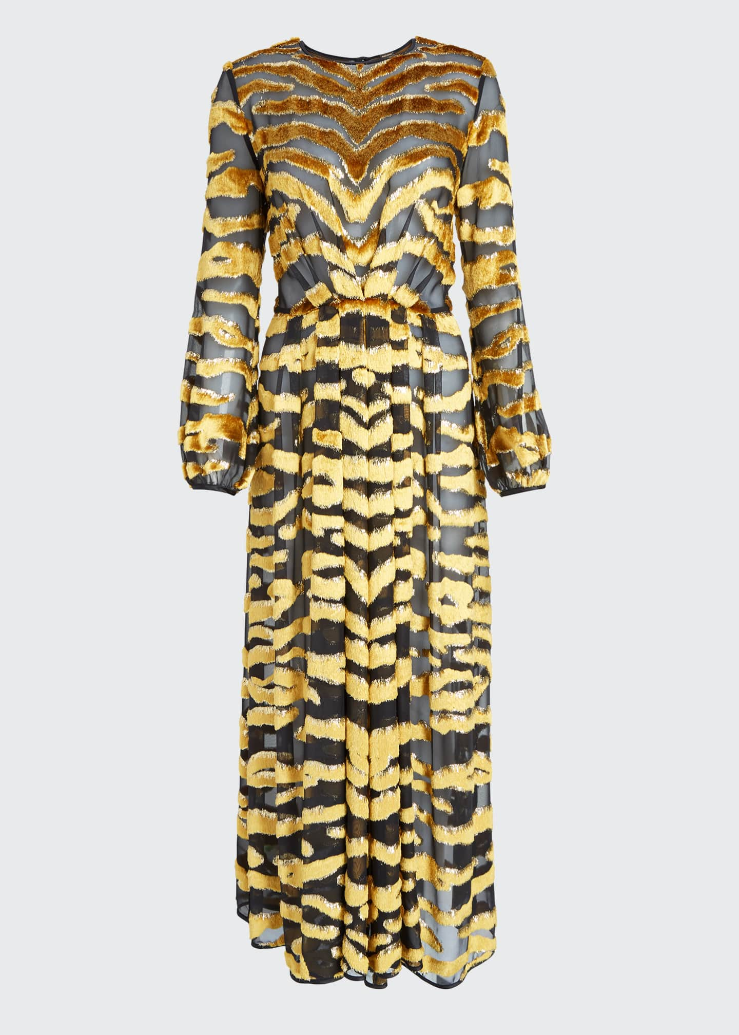 Image 5 of 5: Tiger-Striped Velvet Burnout Dress