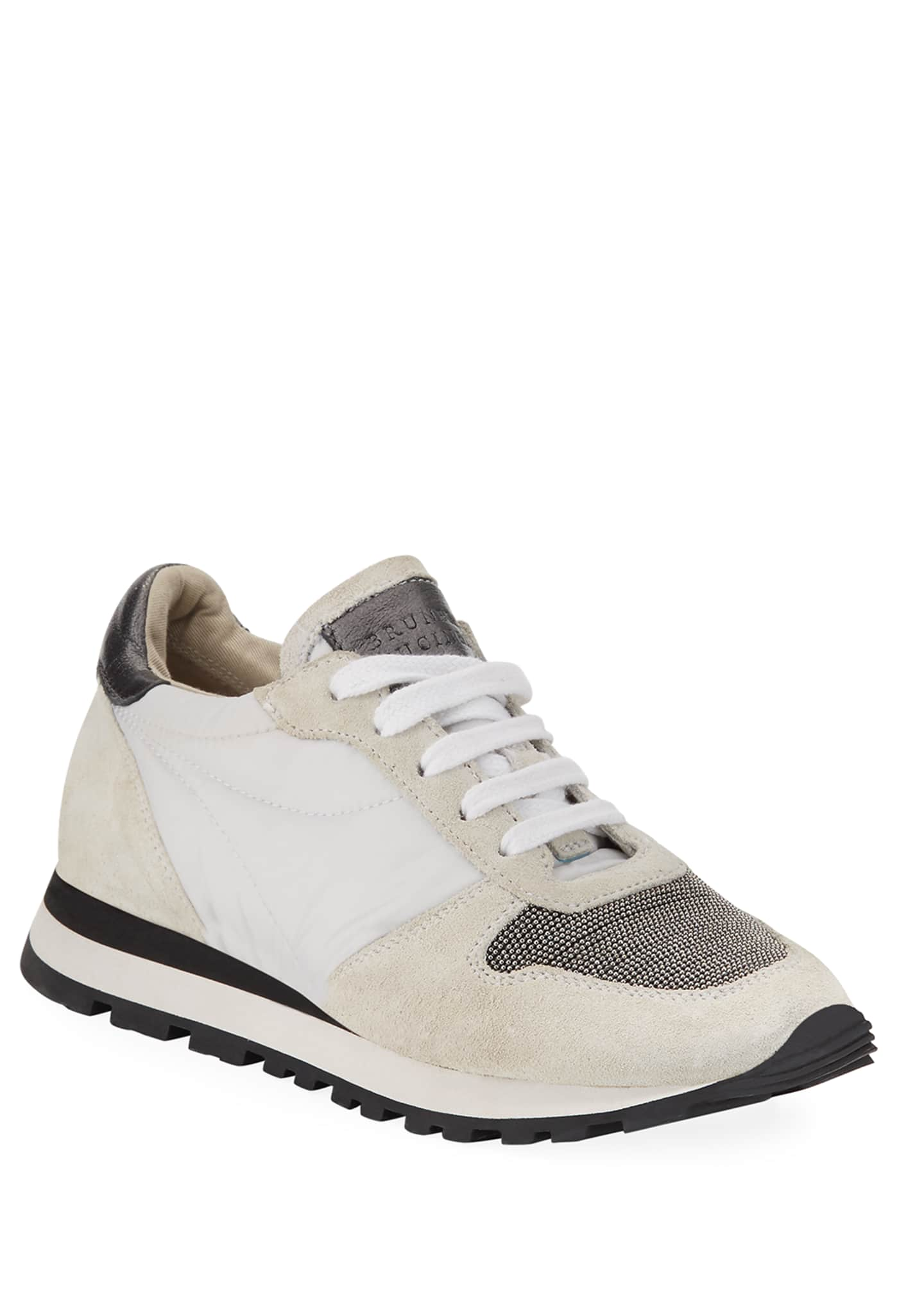 Brunello Cucinelli Girl's Suede and Leather Runner Sneakers,