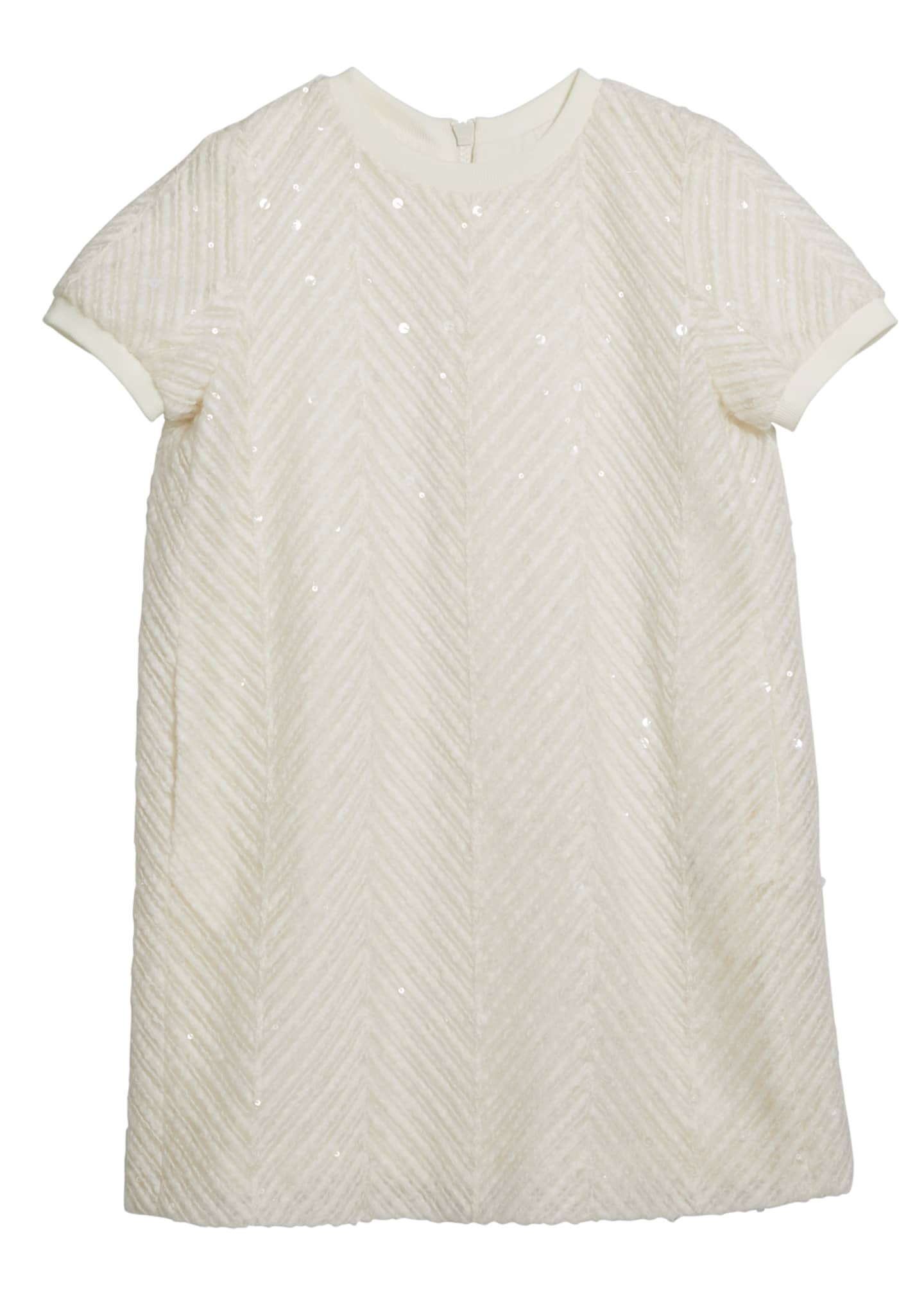 Brunello Cucinelli Girl's Paillette Chevron Short-Sleeve Tulle