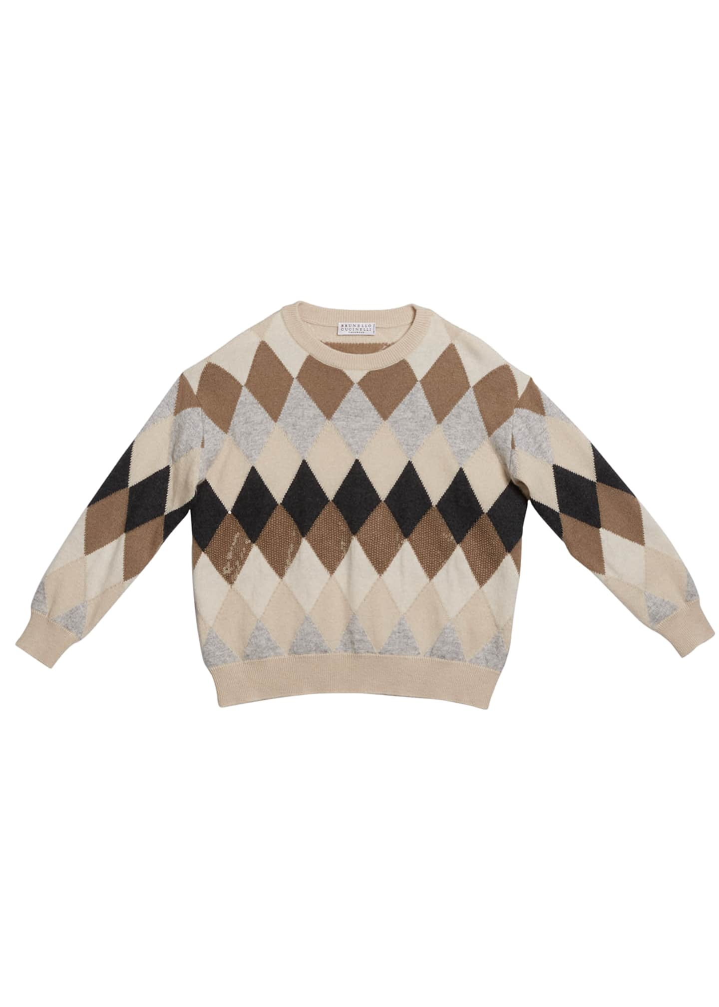 Brunello Cucinelli Girl's Argyle Wool-Blend Sweater with