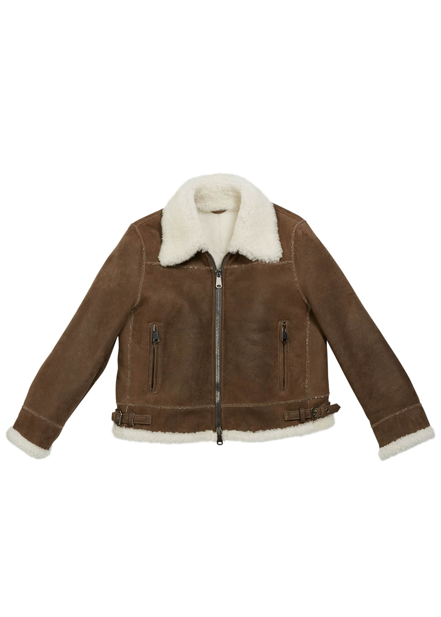 Brunello Cucinelli Girl's Shearling Zip Front Jacket w/
