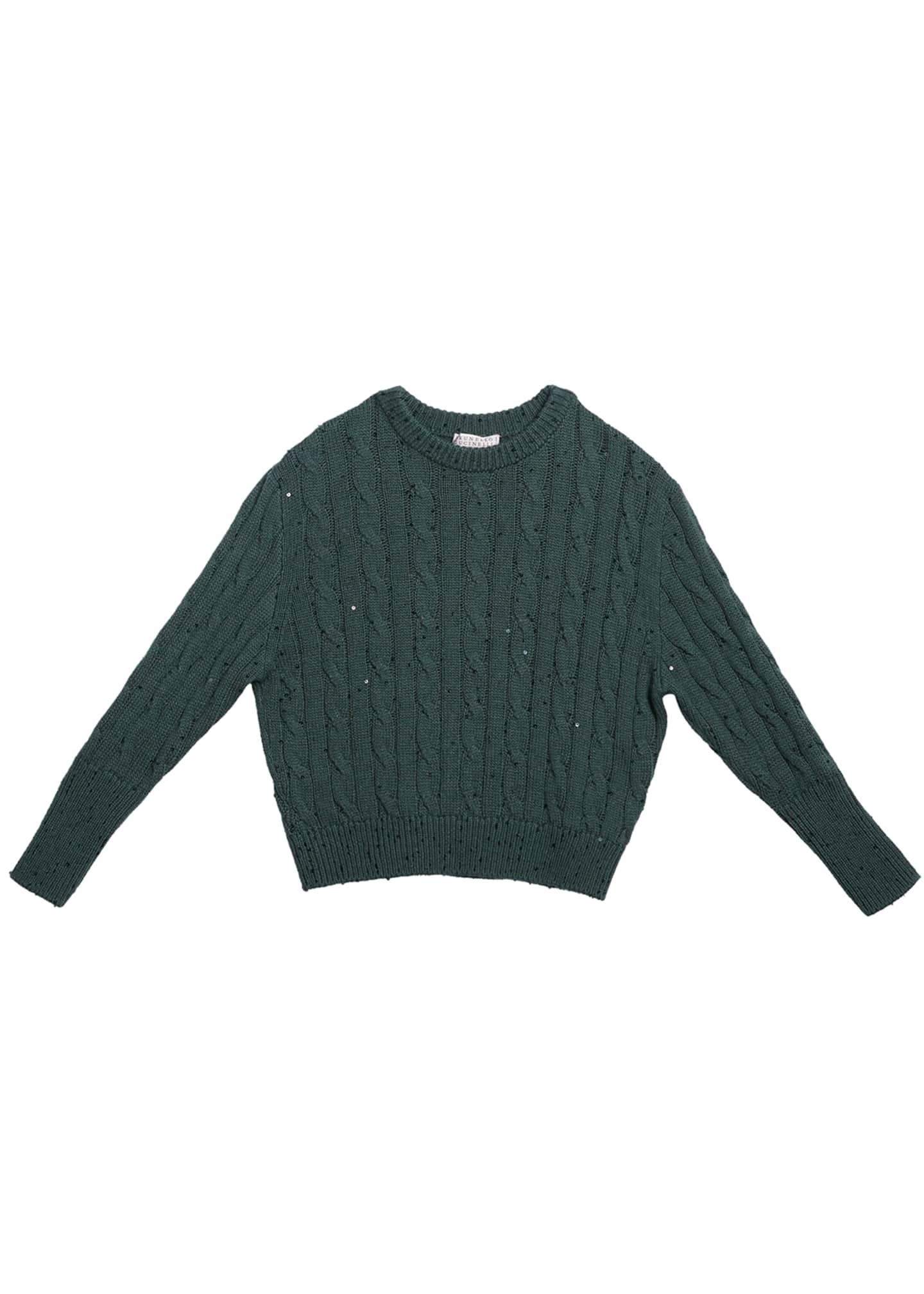 Brunello Cucinelli Girl's Cashmere Cable Knit Sweater w/