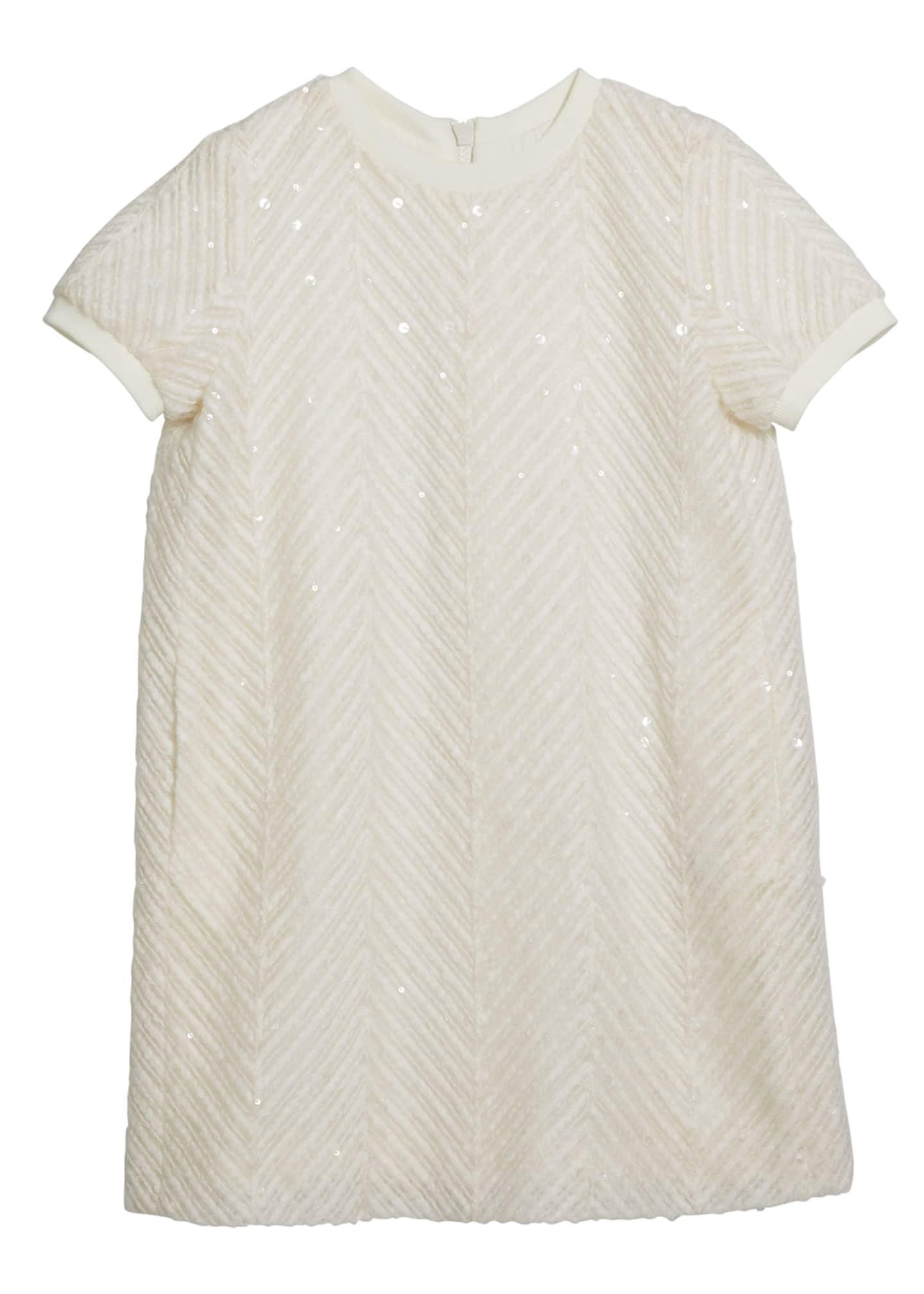 Brunello Cucinelli Girl's Paillette Chevron Short-Sleeve Tulle
