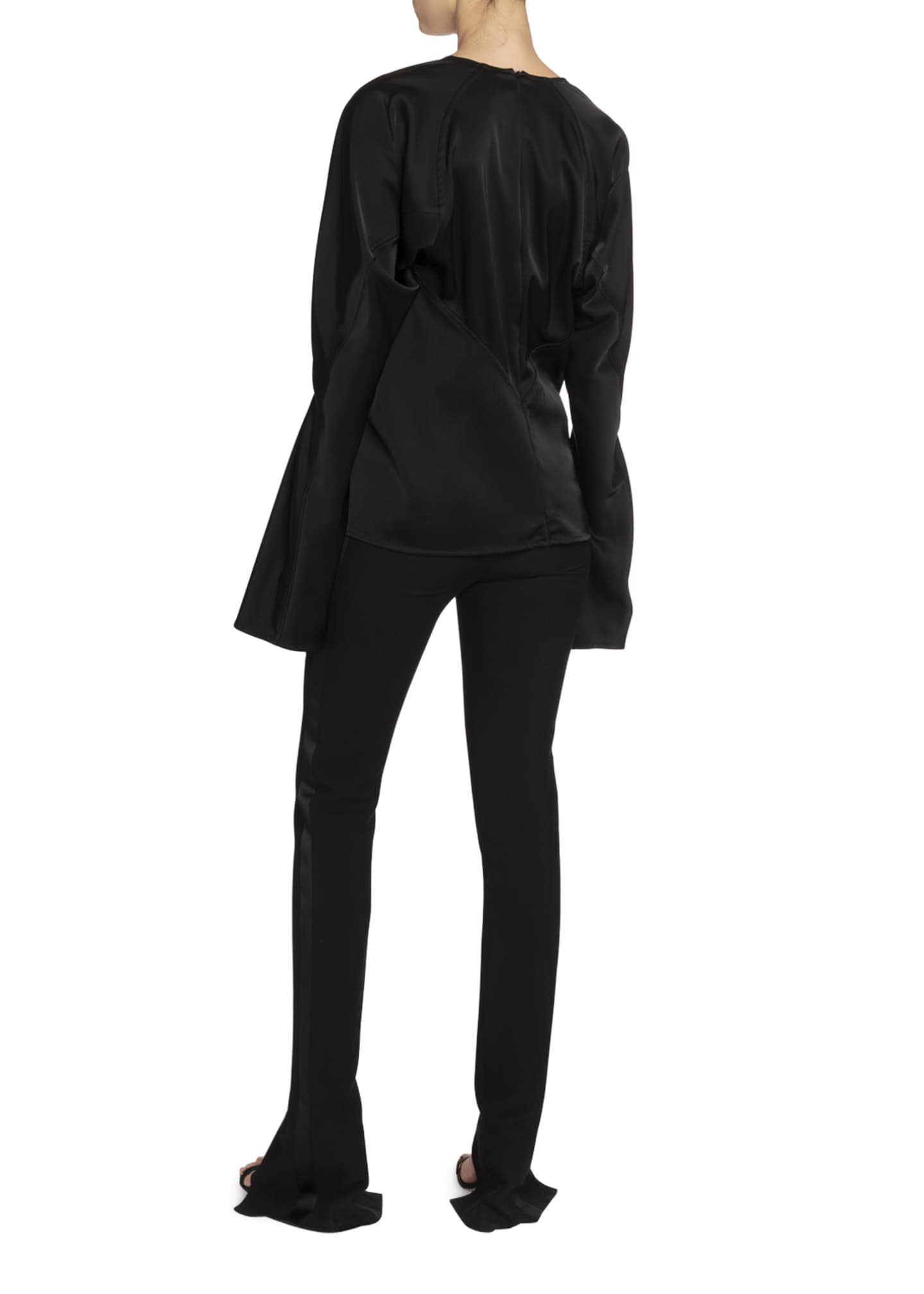 Image 2 of 2: Twill Slit-Cuff Tuxedo Trousers, Black