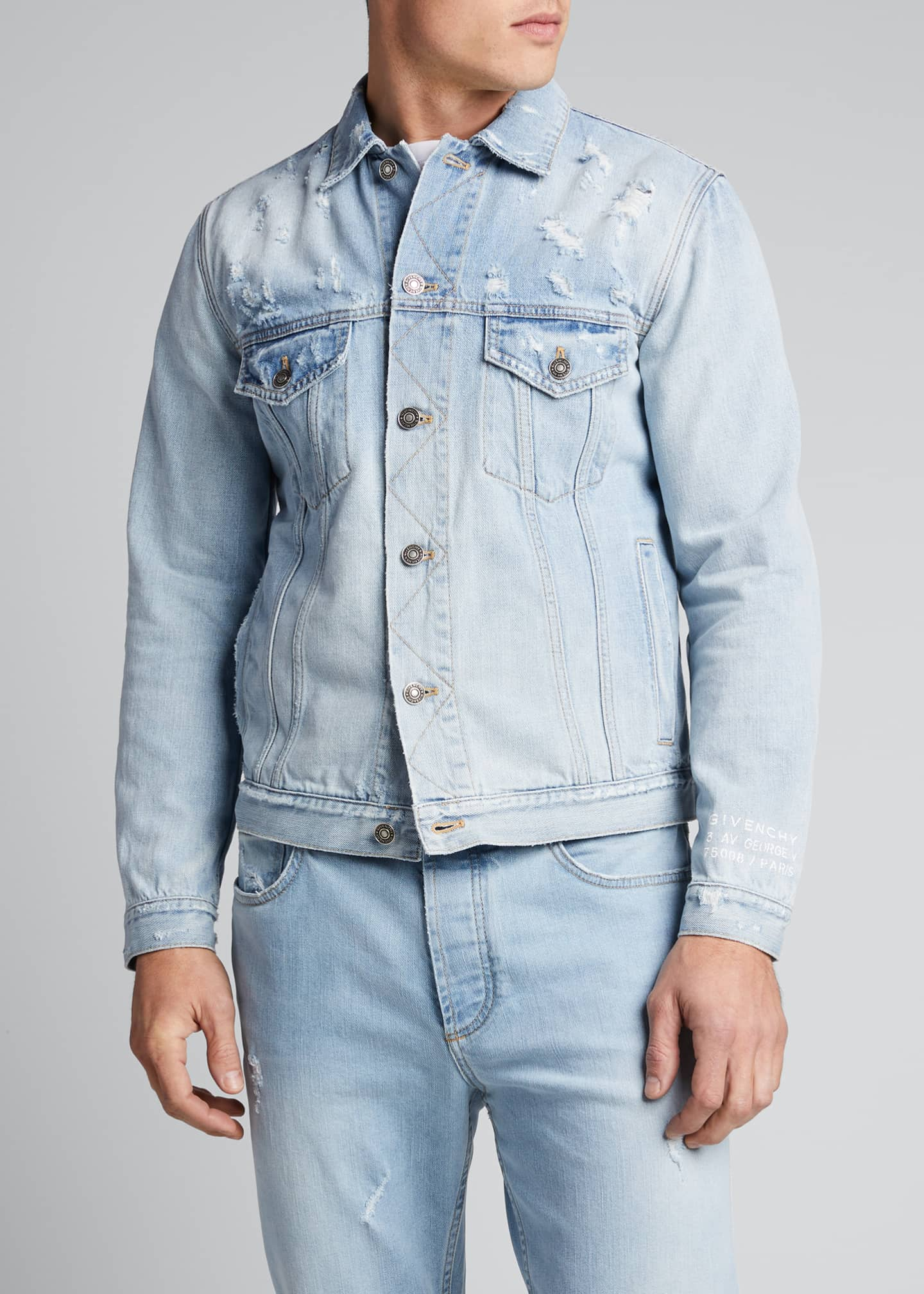 Image 3 of 4: Men's Classic-Fit Distressed Denim Jacket