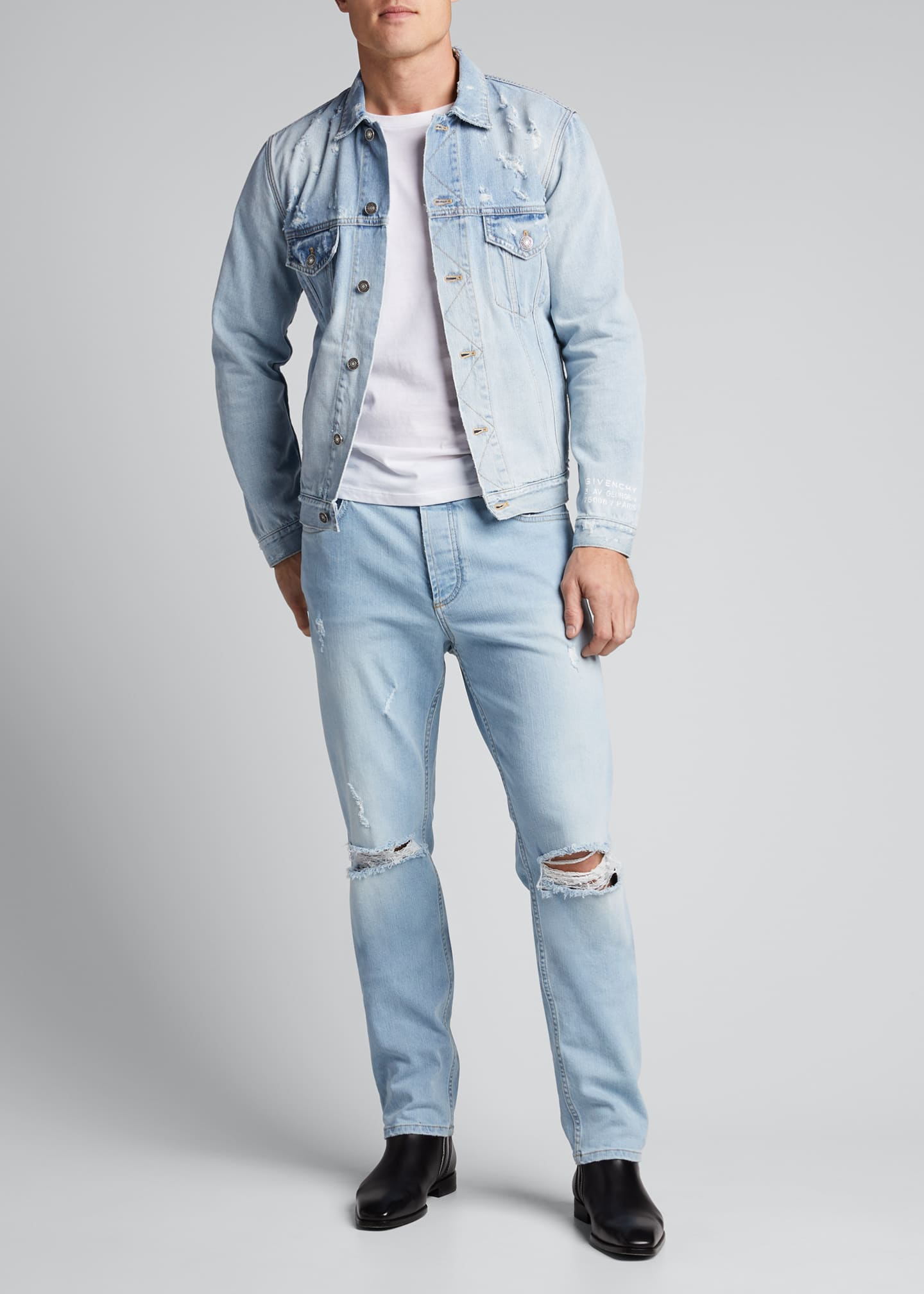 Image 1 of 4: Men's Classic-Fit Distressed Denim Jacket