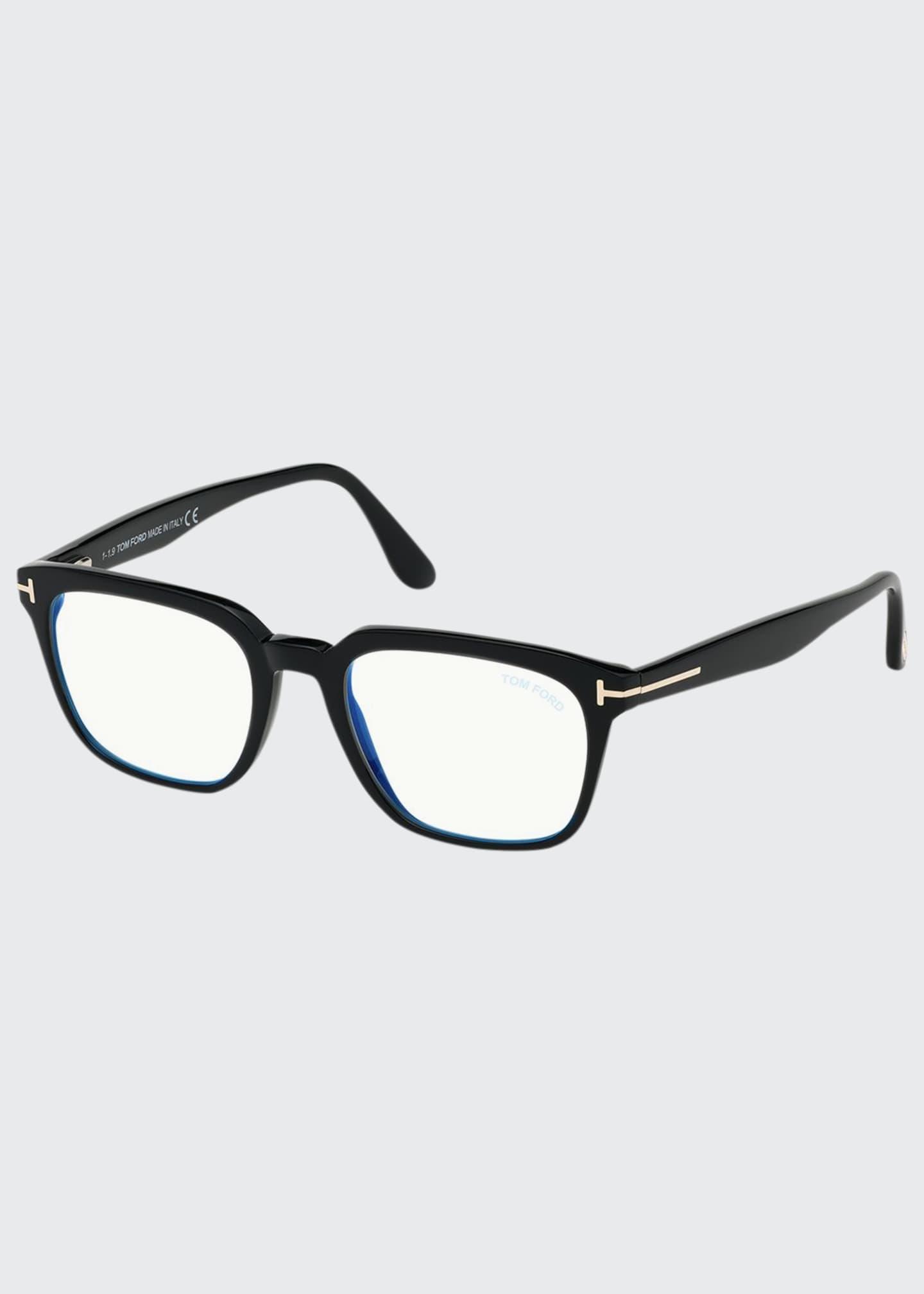 TOM FORD Men's Square Solid Acetate Optical Frames
