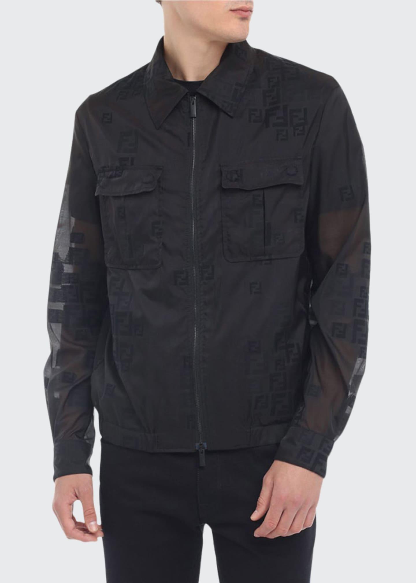 Fendi Men's Faded-FF Sheer Bomber Jacket