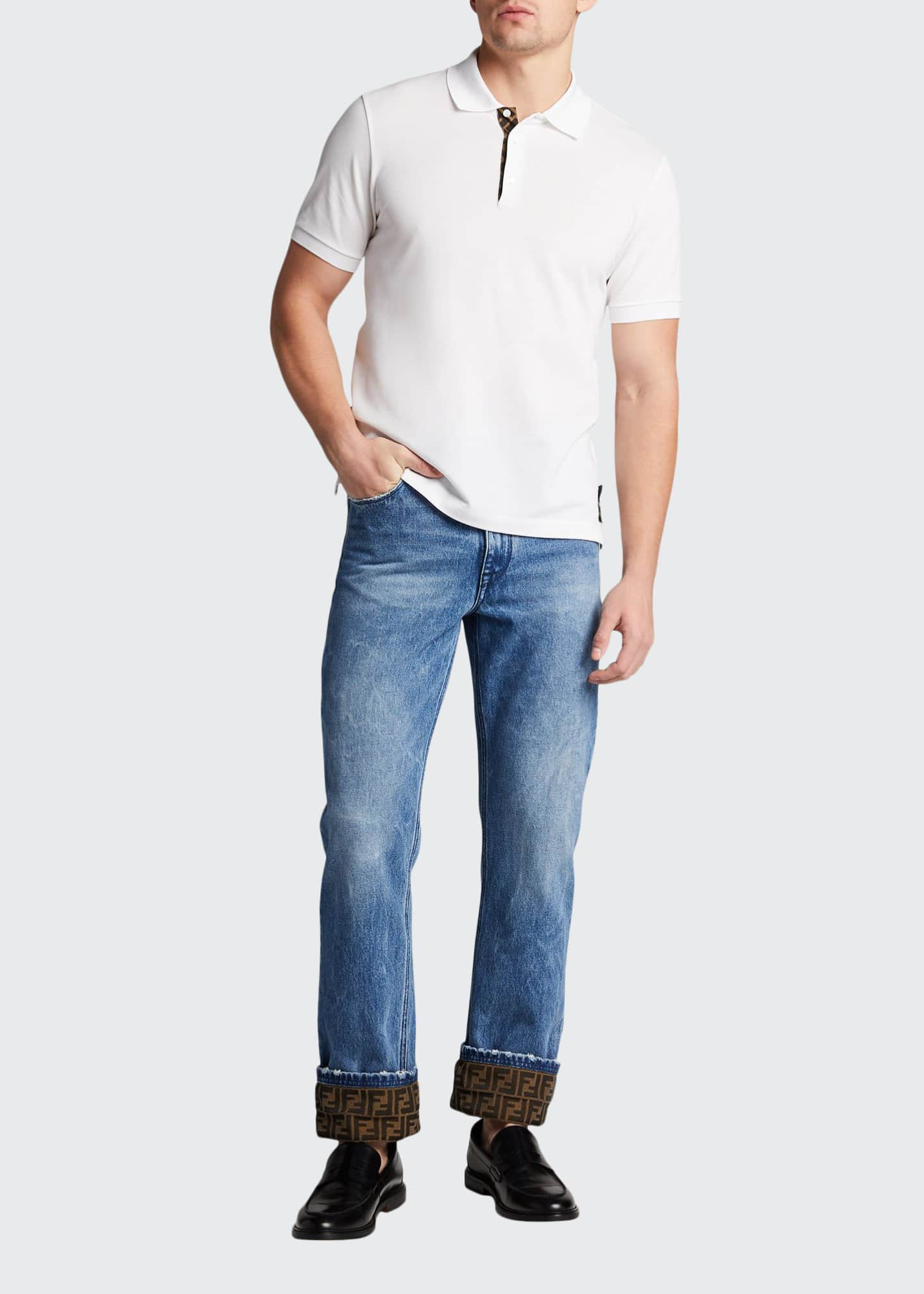 Fendi Men's Turn-Up FF-Cuff Straight-Leg Jeans