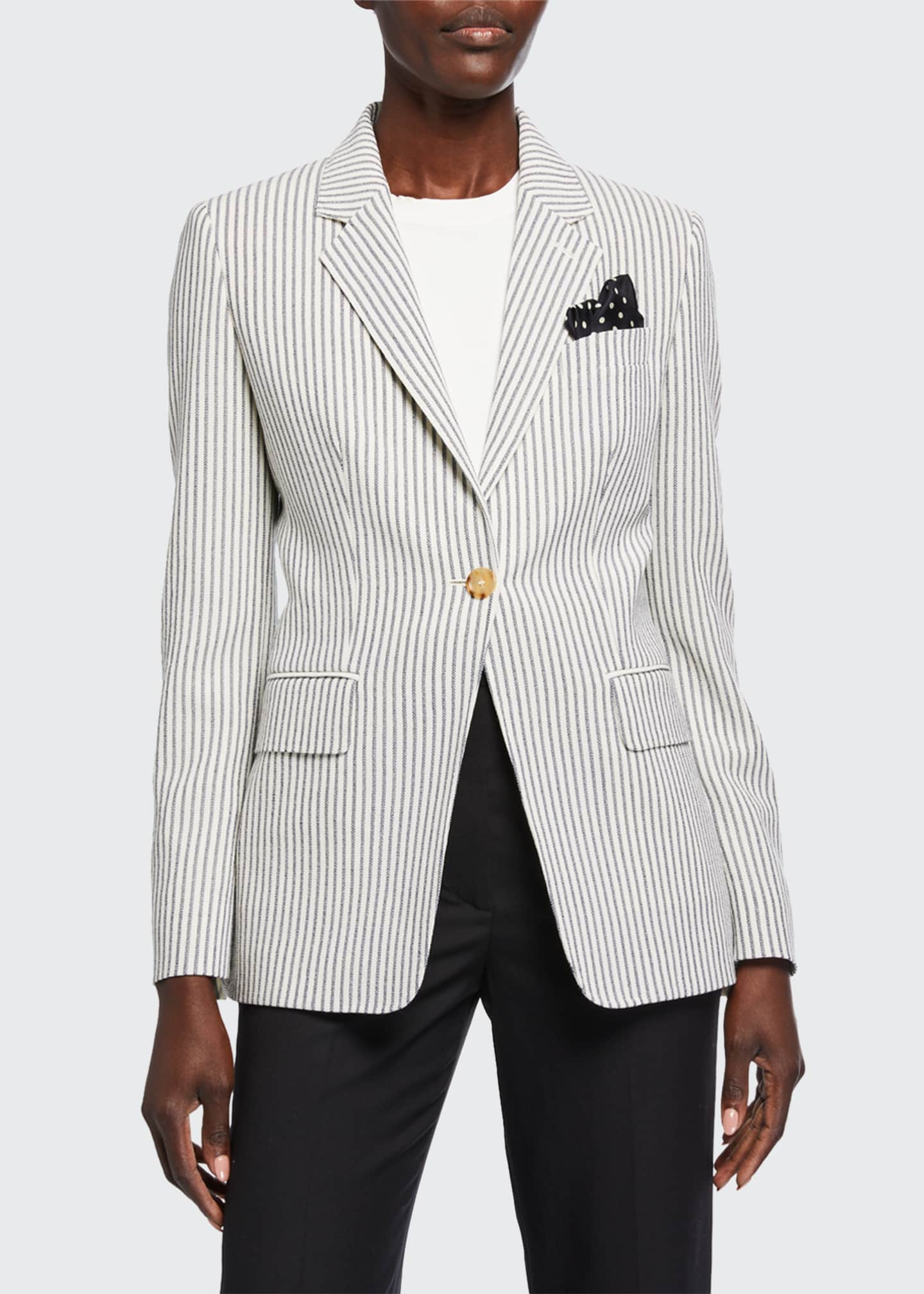 Image 3 of 3: Acerbo Ticking-Striped Blazer