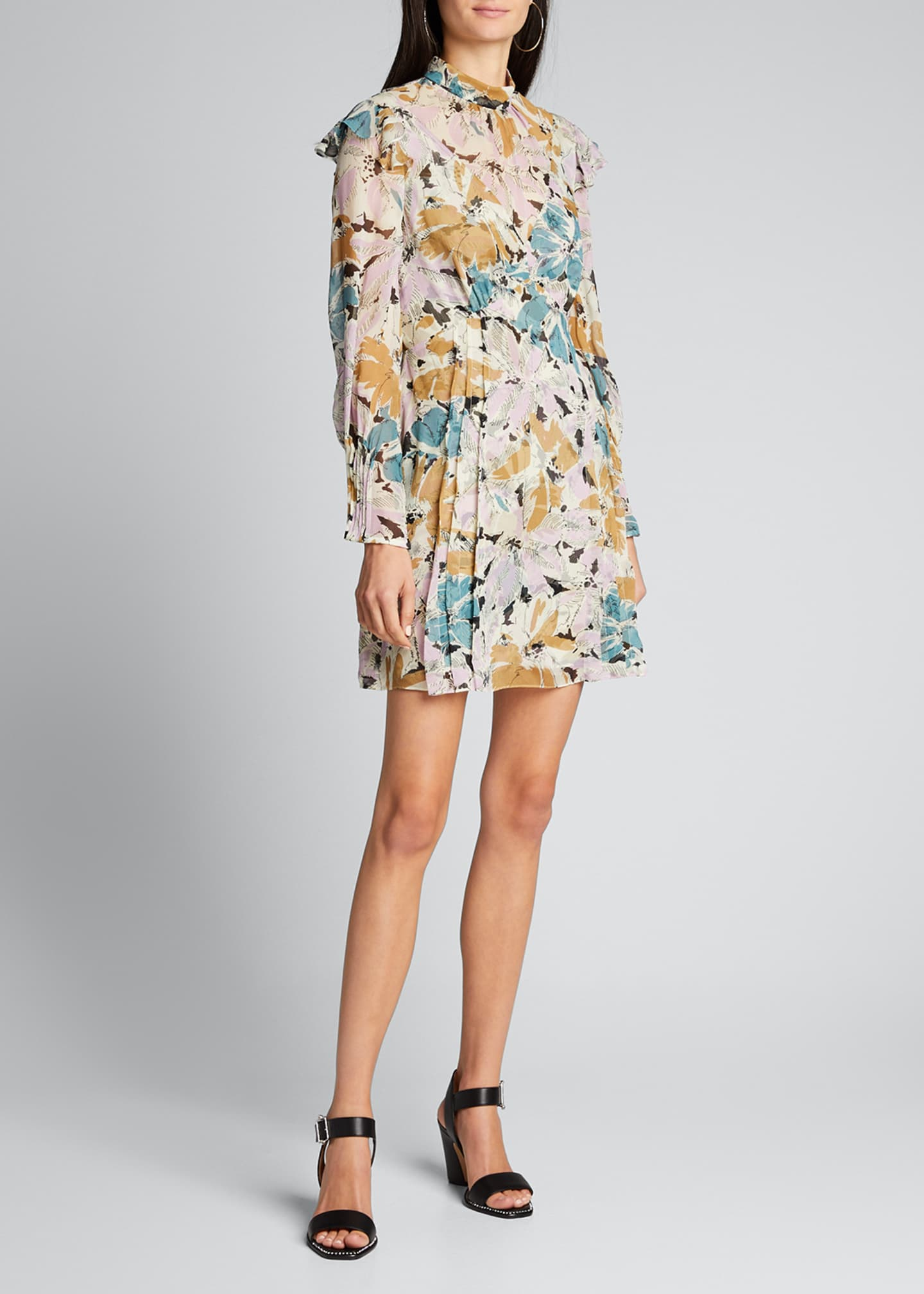 Image 3 of 5: Elinor Floral-Print High-Neck Dress