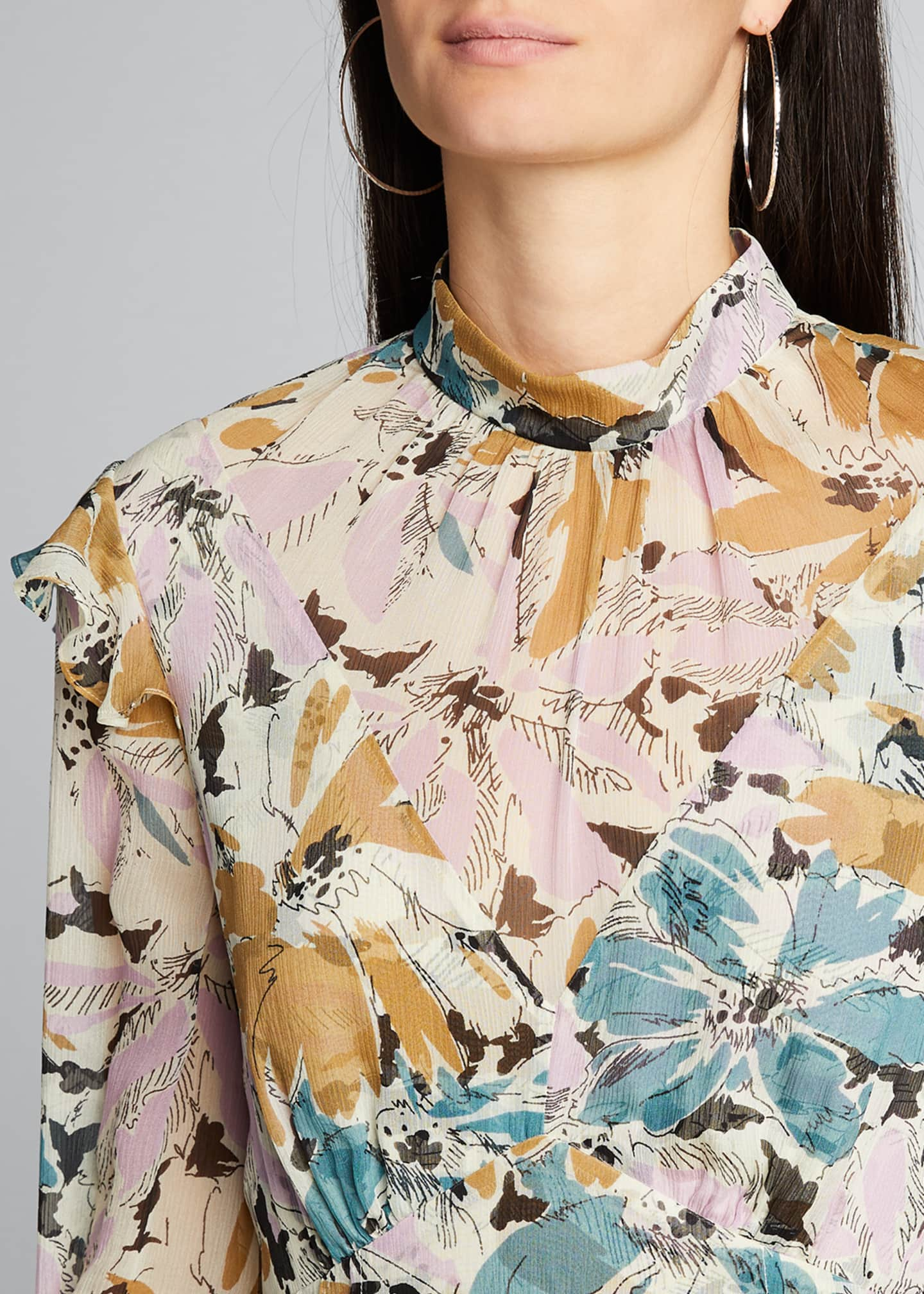 Image 4 of 5: Elinor Floral-Print High-Neck Dress