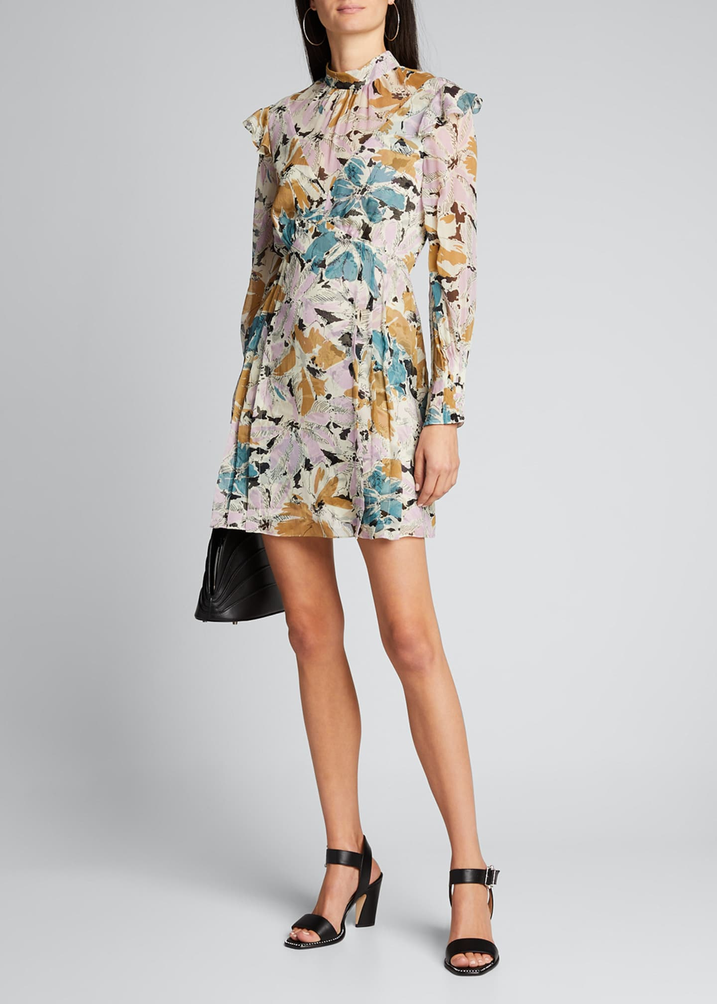 Image 1 of 5: Elinor Floral-Print High-Neck Dress