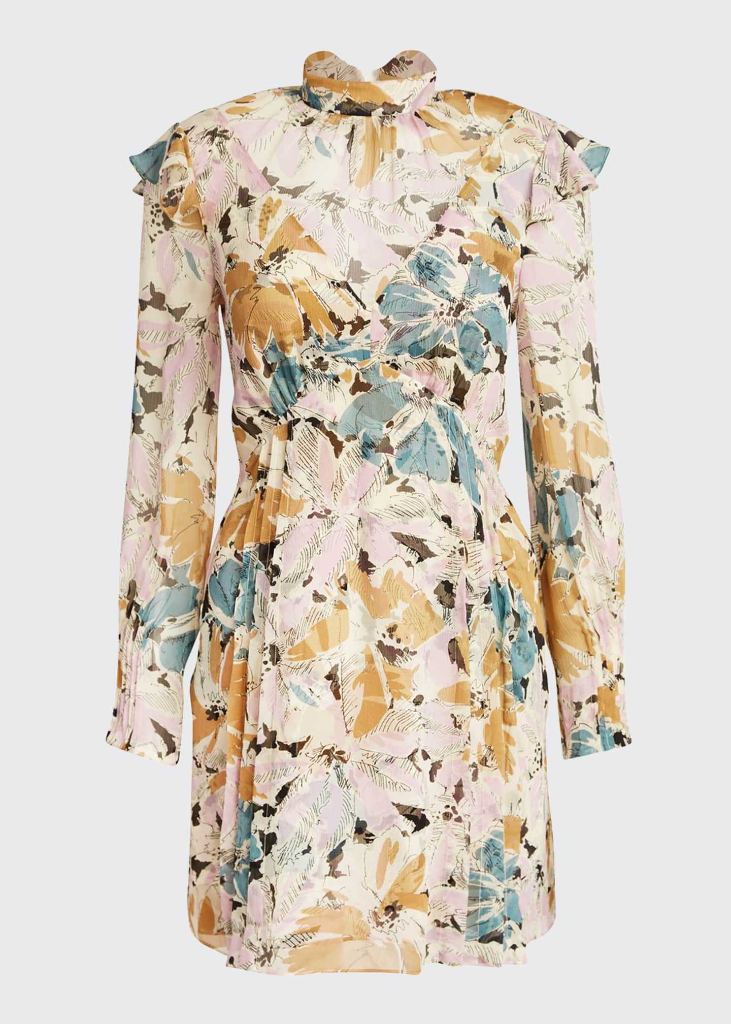 Image 5 of 5: Elinor Floral-Print High-Neck Dress