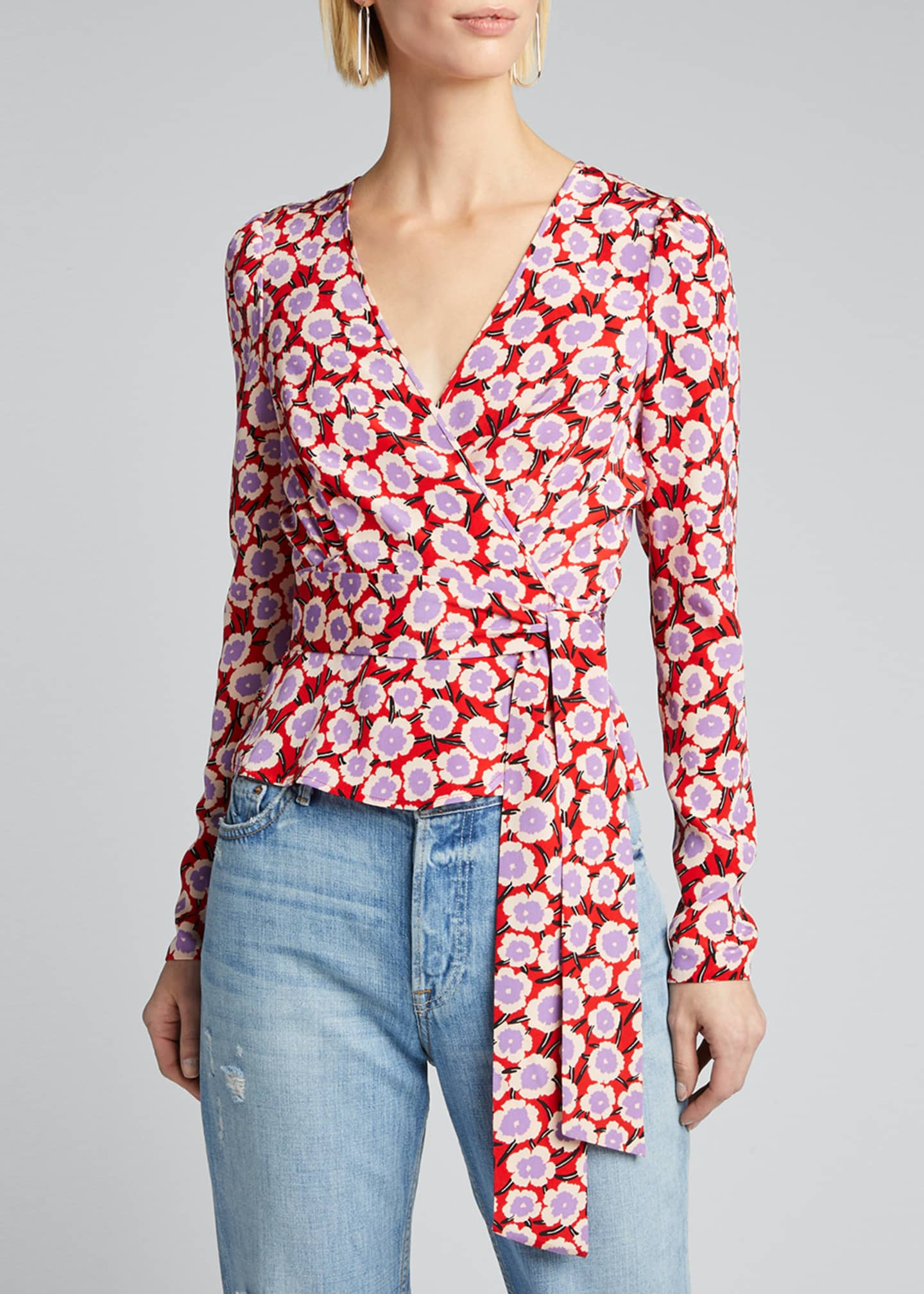 Image 3 of 5: Alexia Floral Long-Sleeve Wrap Top