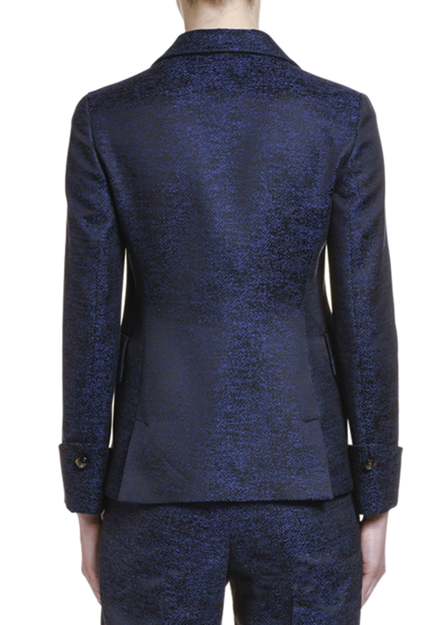 Image 2 of 2: Silk-Print Jacquard Two-Button Jacket