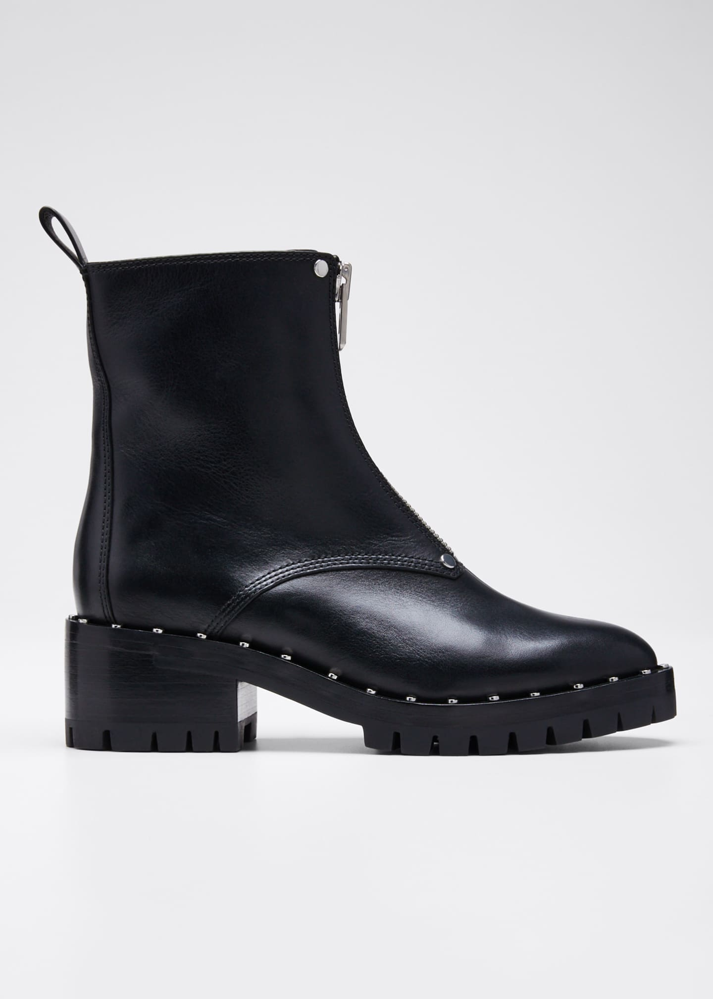 3.1 Phillip Lim Hayett Studded Leather Front-Zip Booties