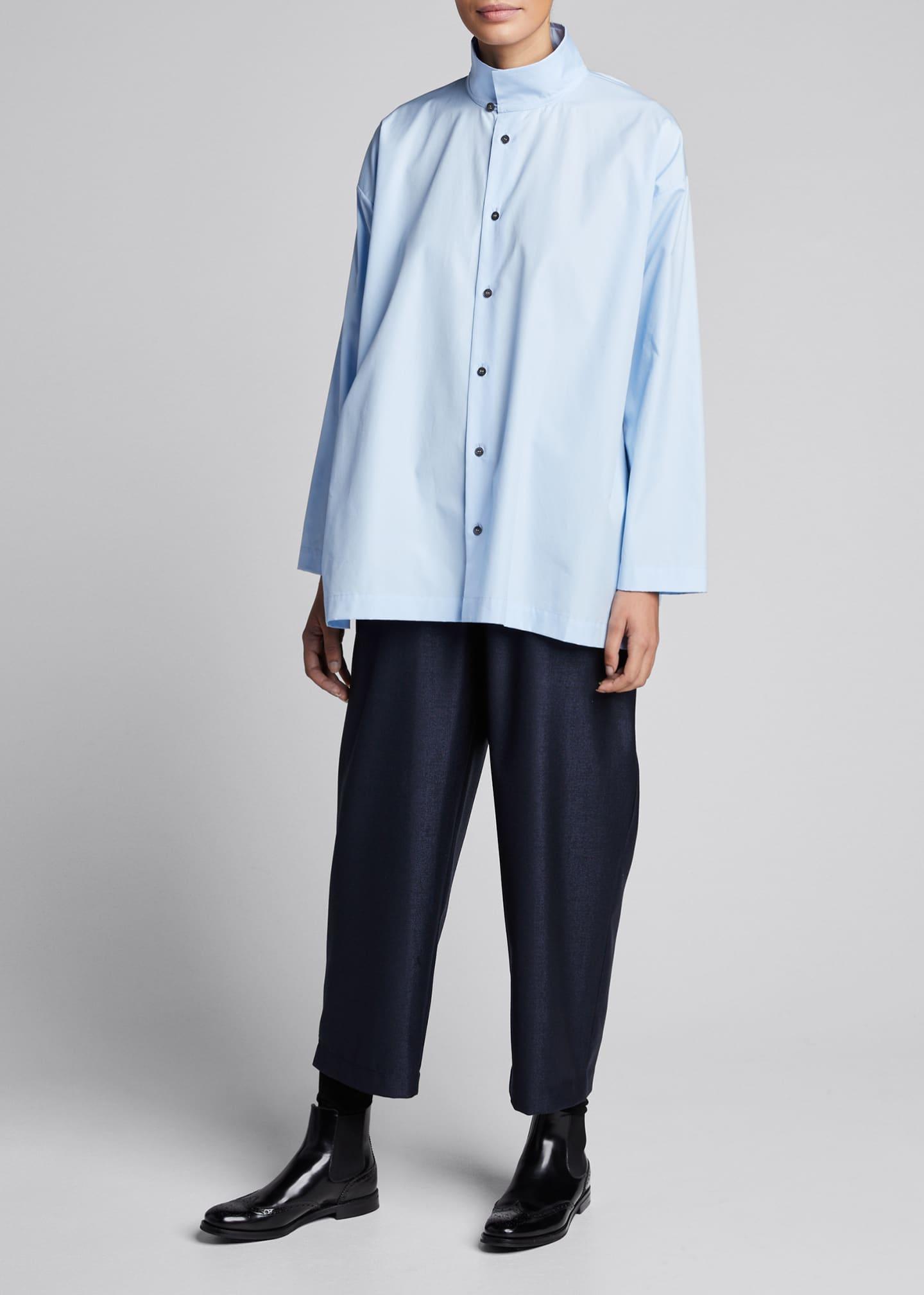 Eskandar Slim A-Line Layered-Collar Blouse