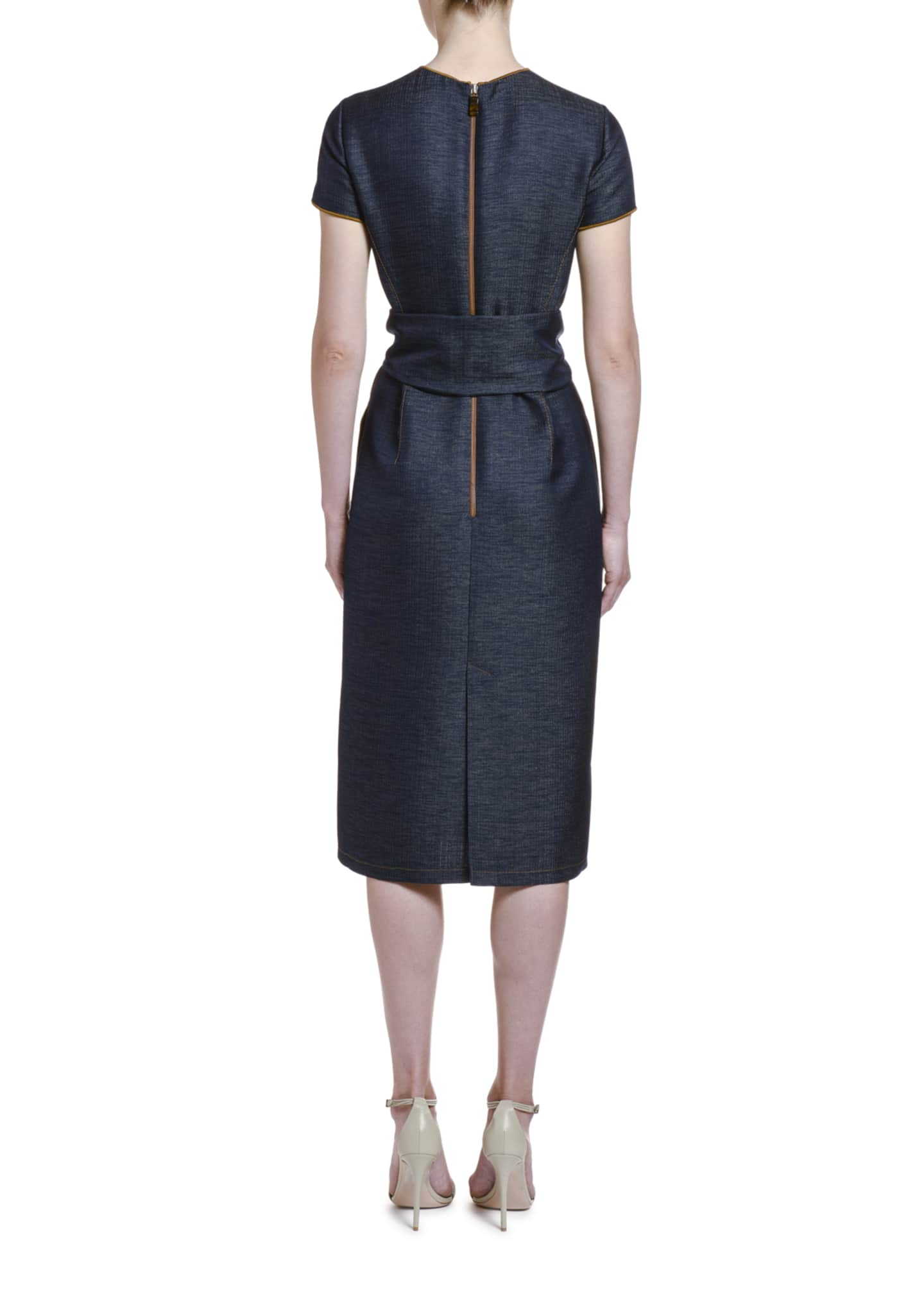 Image 2 of 4: Wool Chambray Belted Sheath Dress