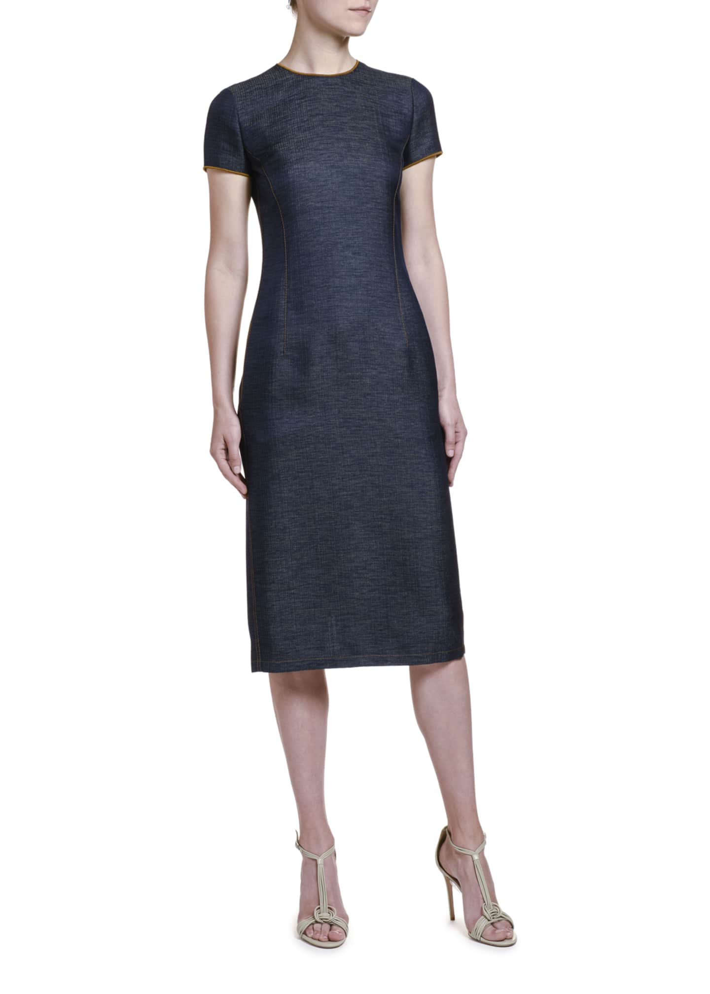 Image 3 of 4: Wool Chambray Belted Sheath Dress