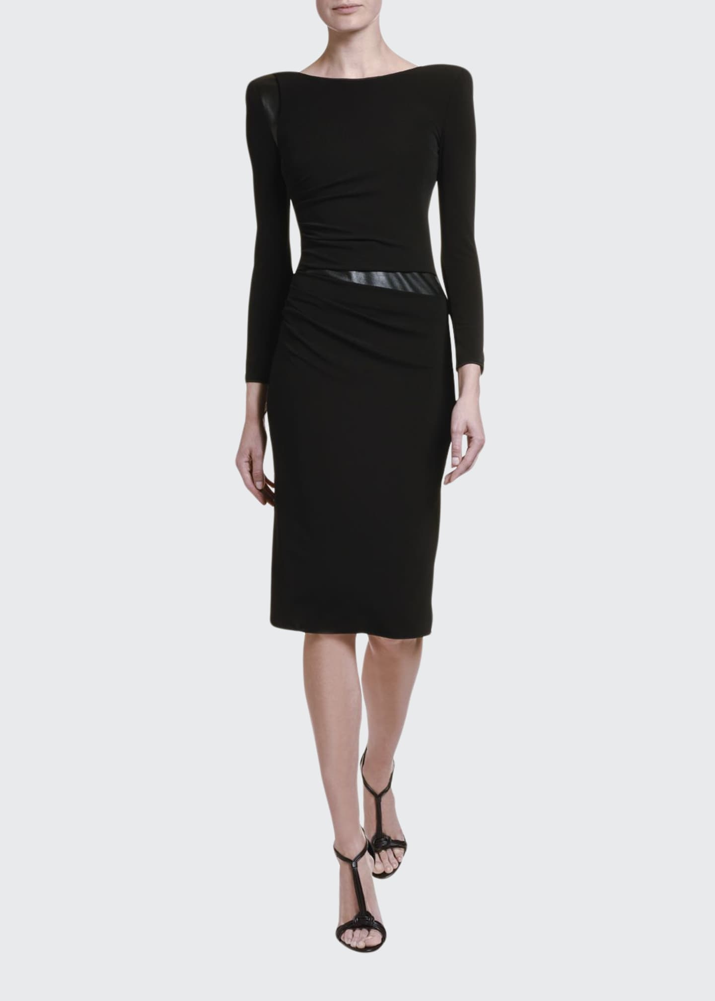 Giorgio Armani Ruched Jersey Leather-Waist Dress