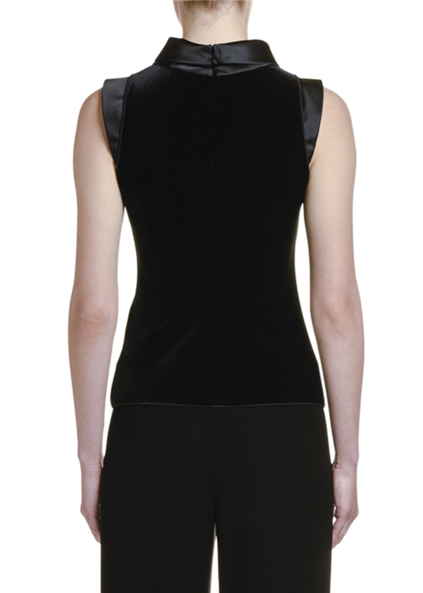Image 2 of 2: Satin-Trim Velvet Tank Top