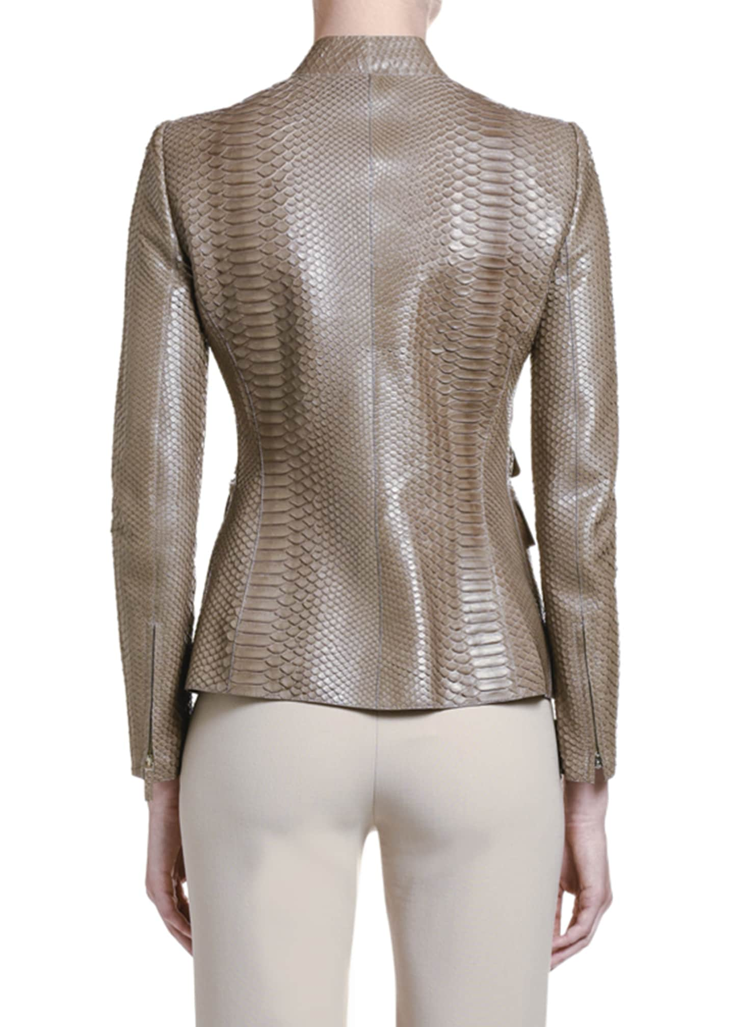 Image 2 of 2: Python Leather Zip-Front Jacket