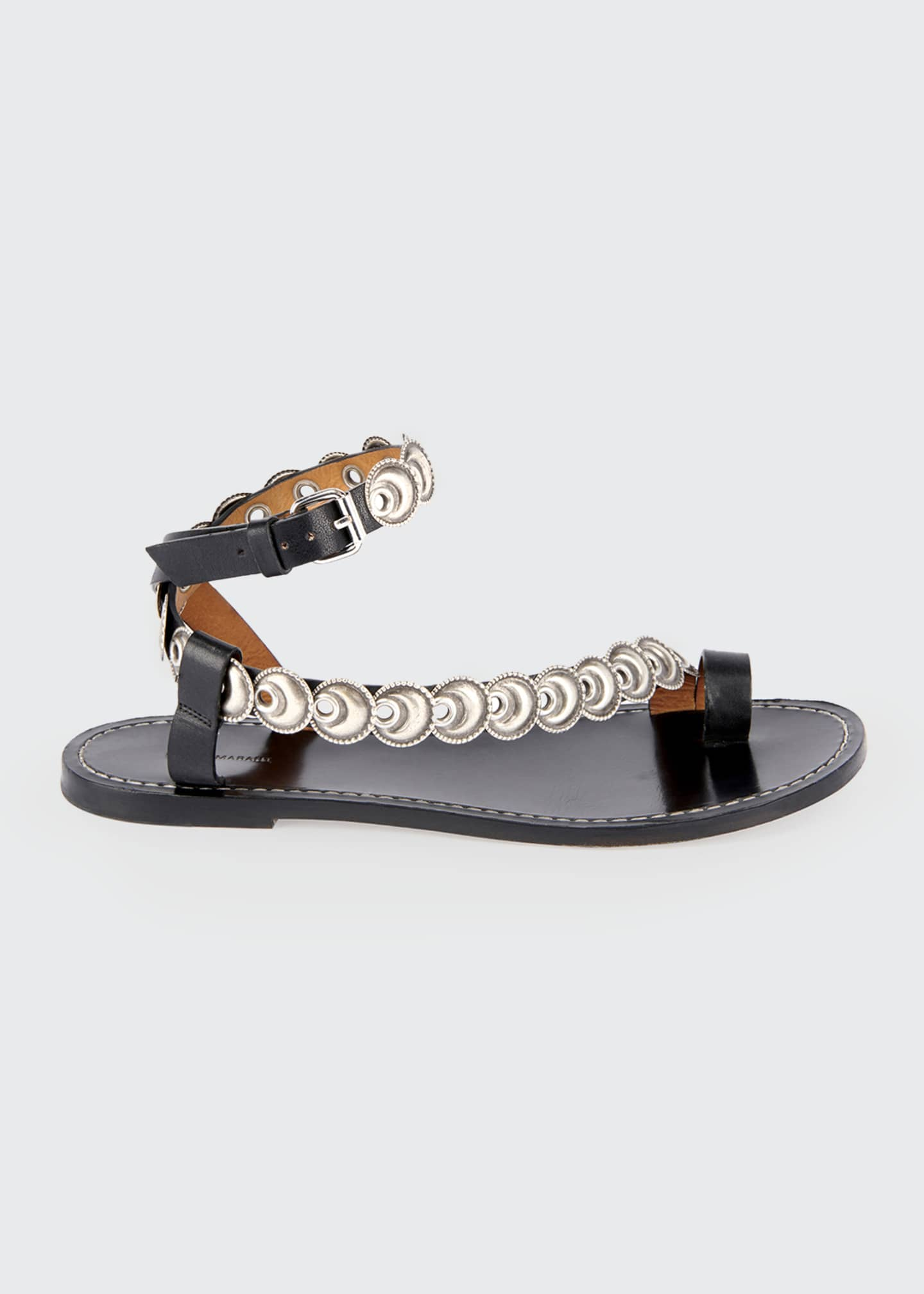 Image 1 of 4: Ermony Flat Metal Sandals