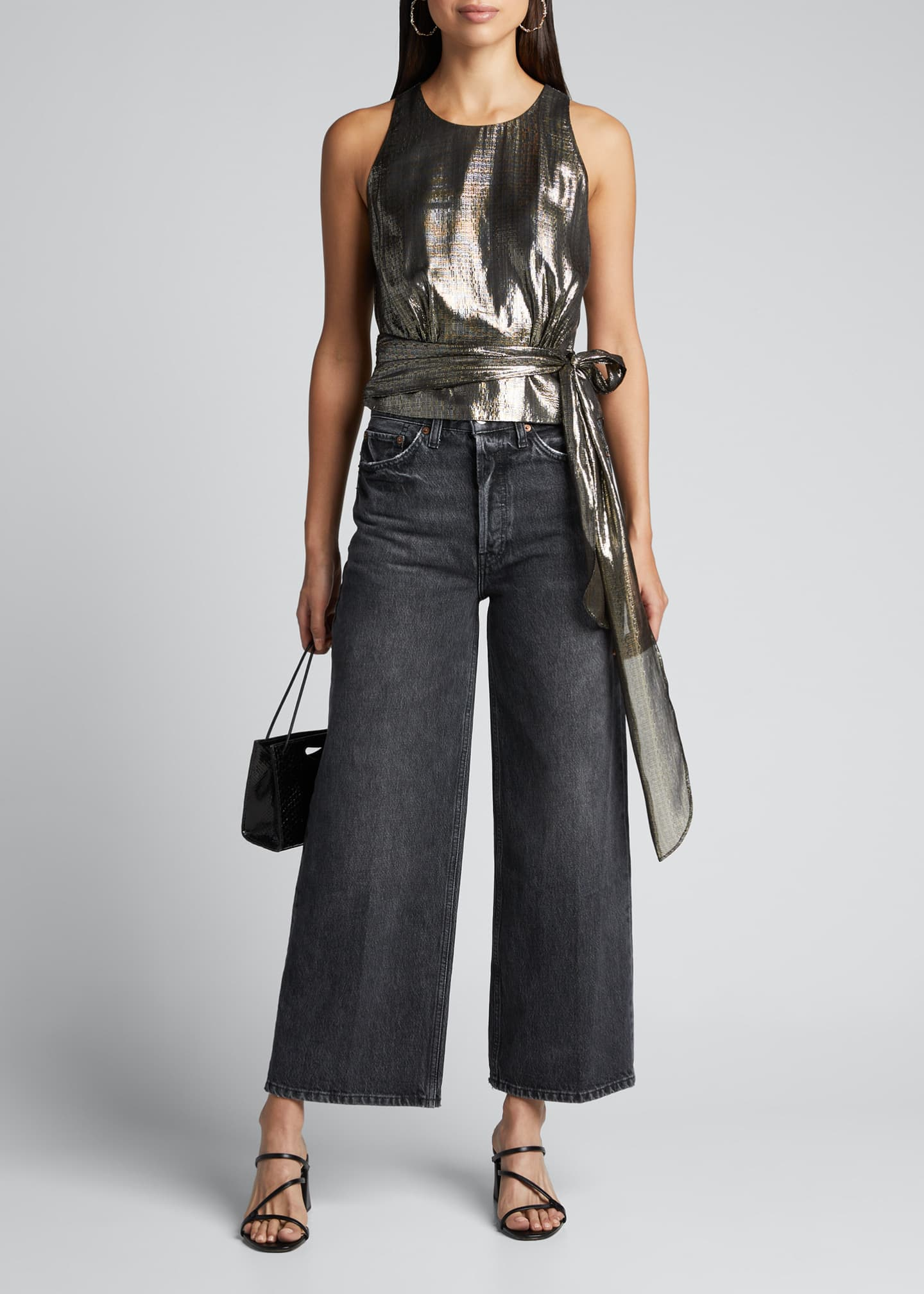 Image 1 of 5: Lauren Cropped Stretch Metallic Chiffon Top