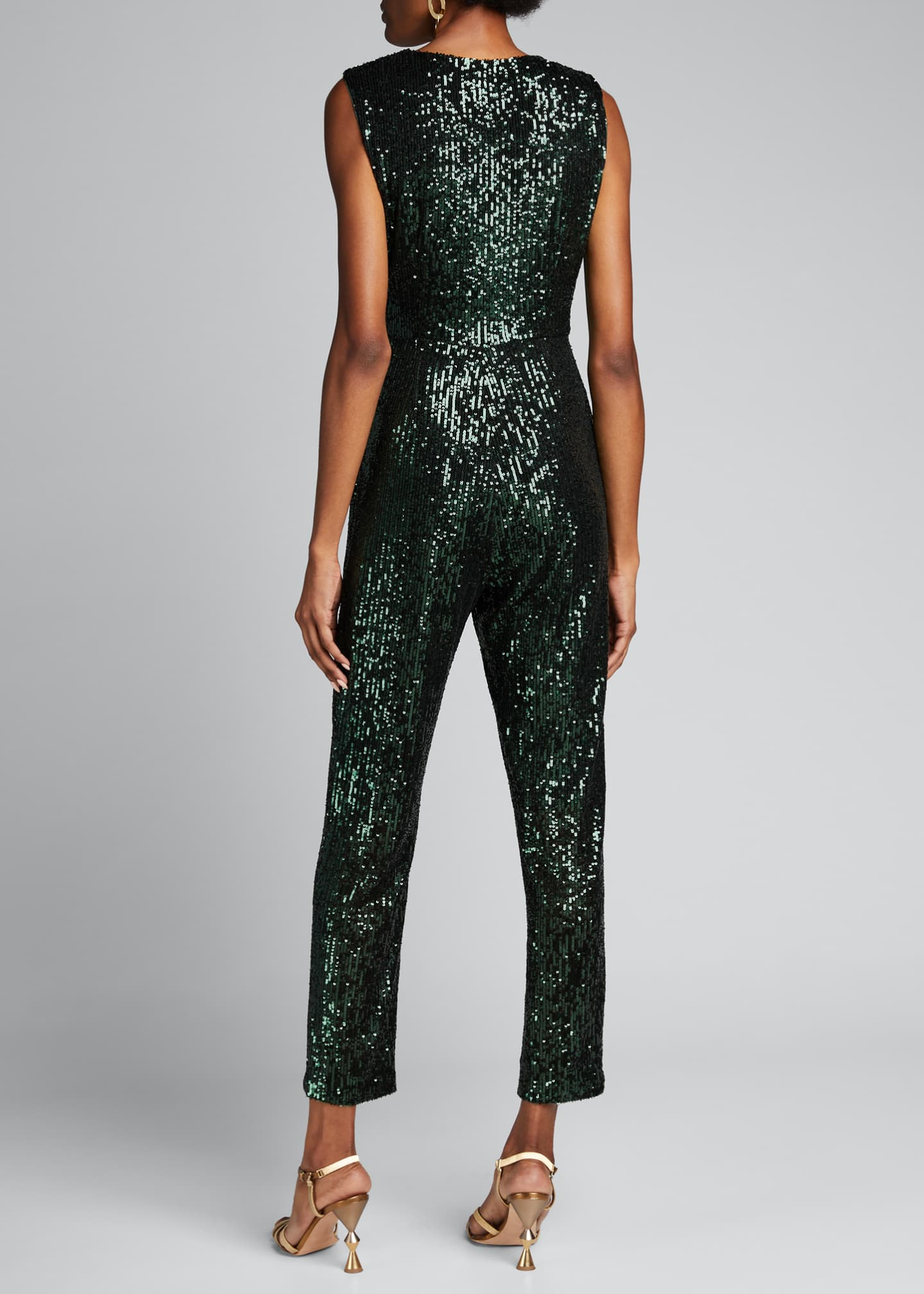 Image 2 of 5: Stretch Micro Sequins V-Neck Sleeveless Tie Jumpsuit