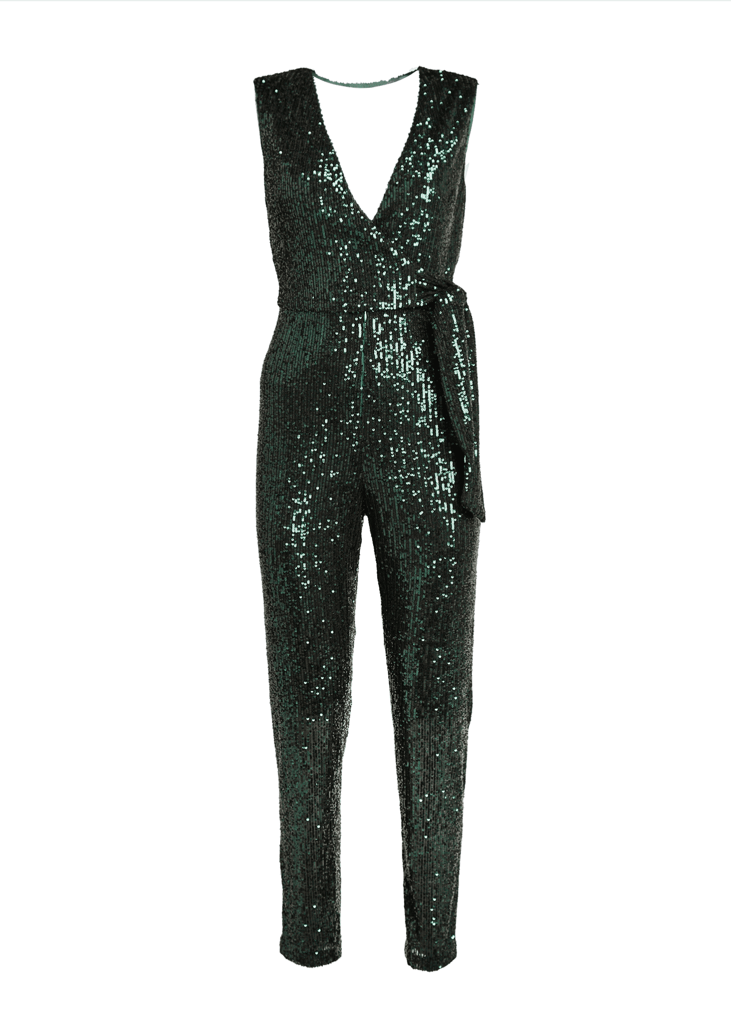 Image 5 of 5: Stretch Micro Sequins V-Neck Sleeveless Tie Jumpsuit