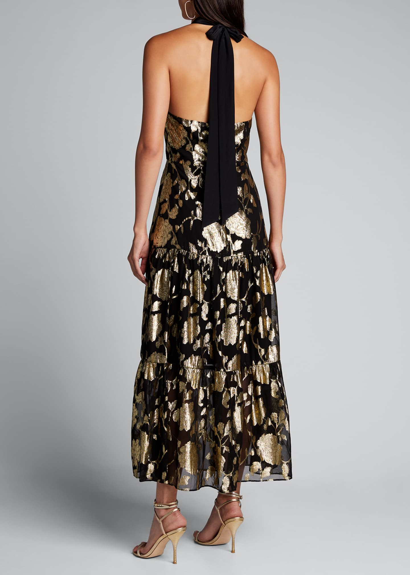 Image 2 of 5: Metallic Floral Chiffon Tiered Halter Dress