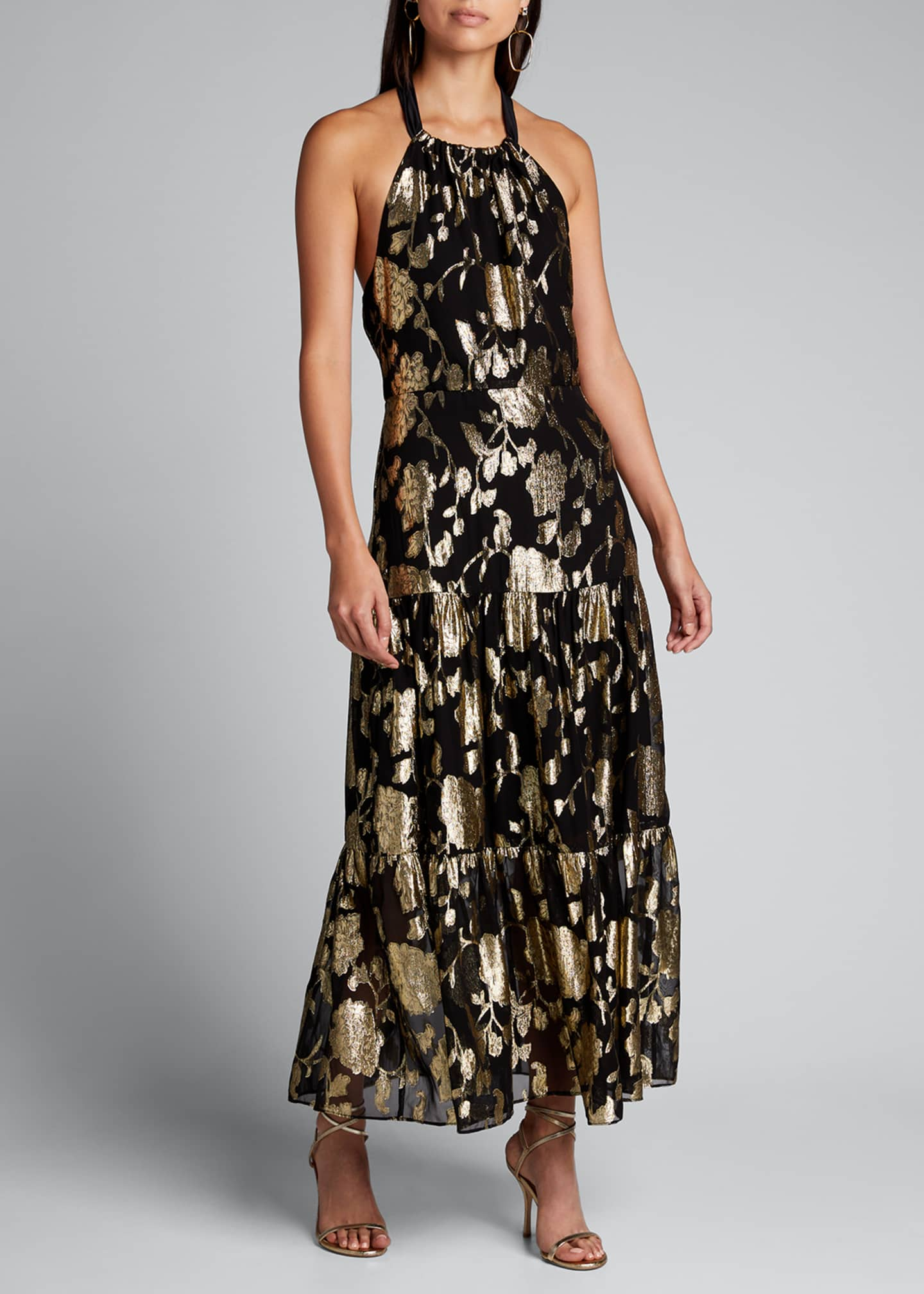 Image 3 of 5: Metallic Floral Chiffon Tiered Halter Dress