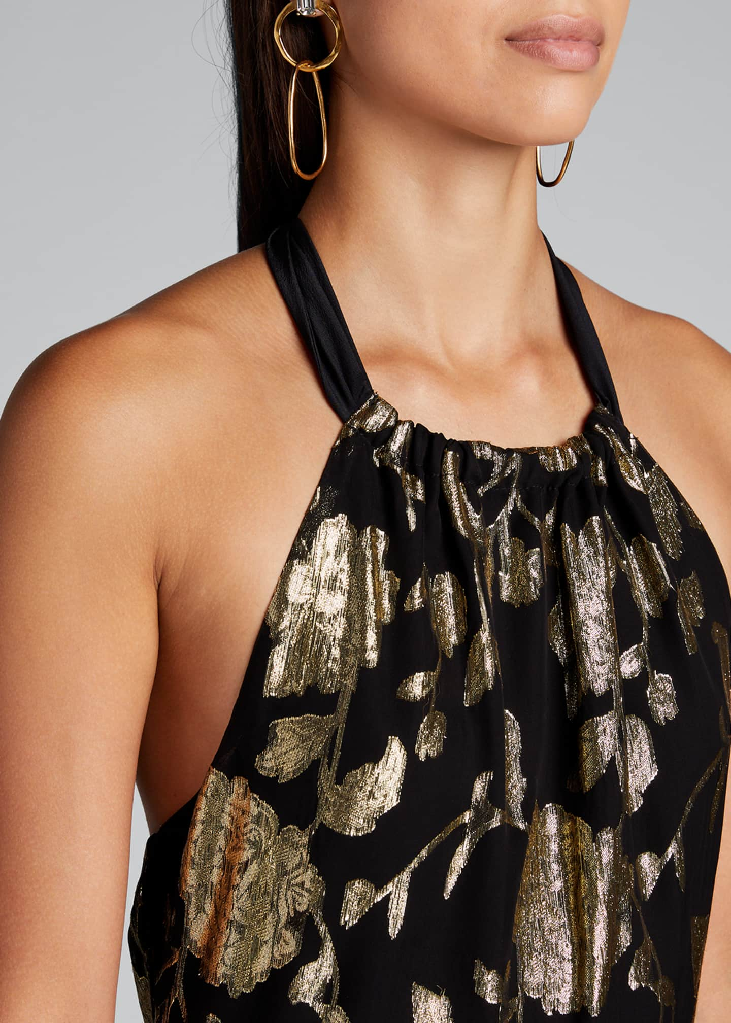 Image 4 of 5: Metallic Floral Chiffon Tiered Halter Dress