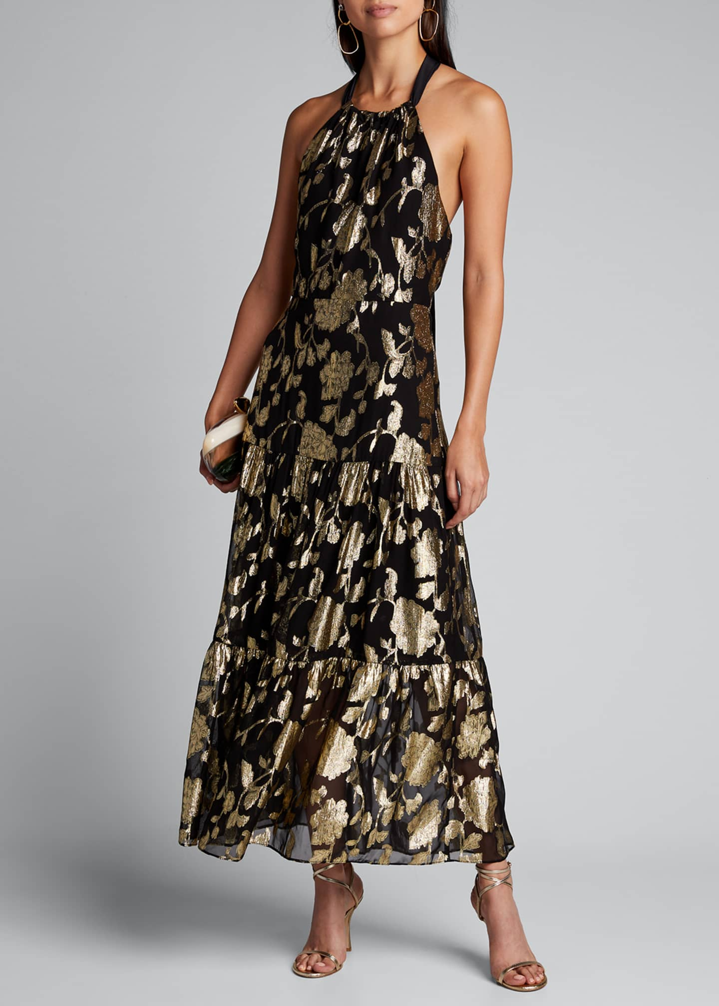 Image 1 of 5: Metallic Floral Chiffon Tiered Halter Dress