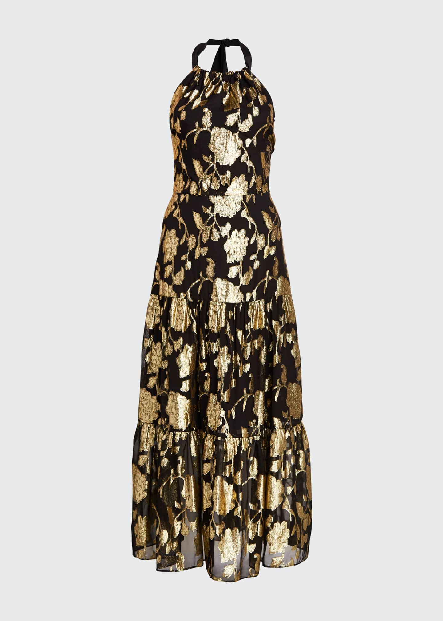 Image 5 of 5: Metallic Floral Chiffon Tiered Halter Dress