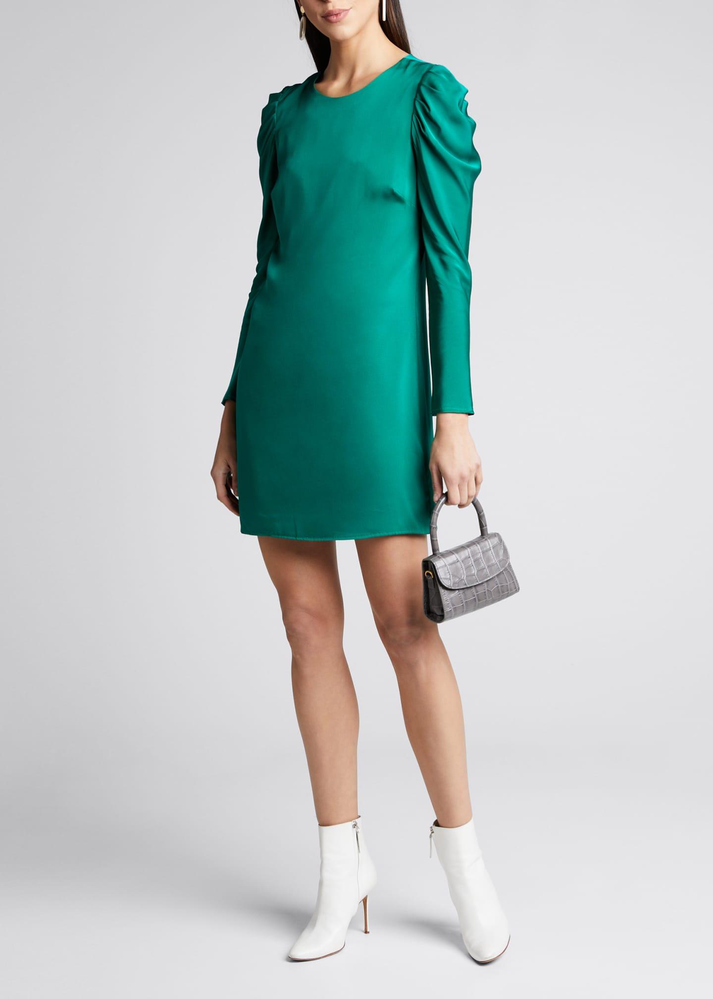 Milly Carina Draped Sleeve Mini Stretch Silk Dress