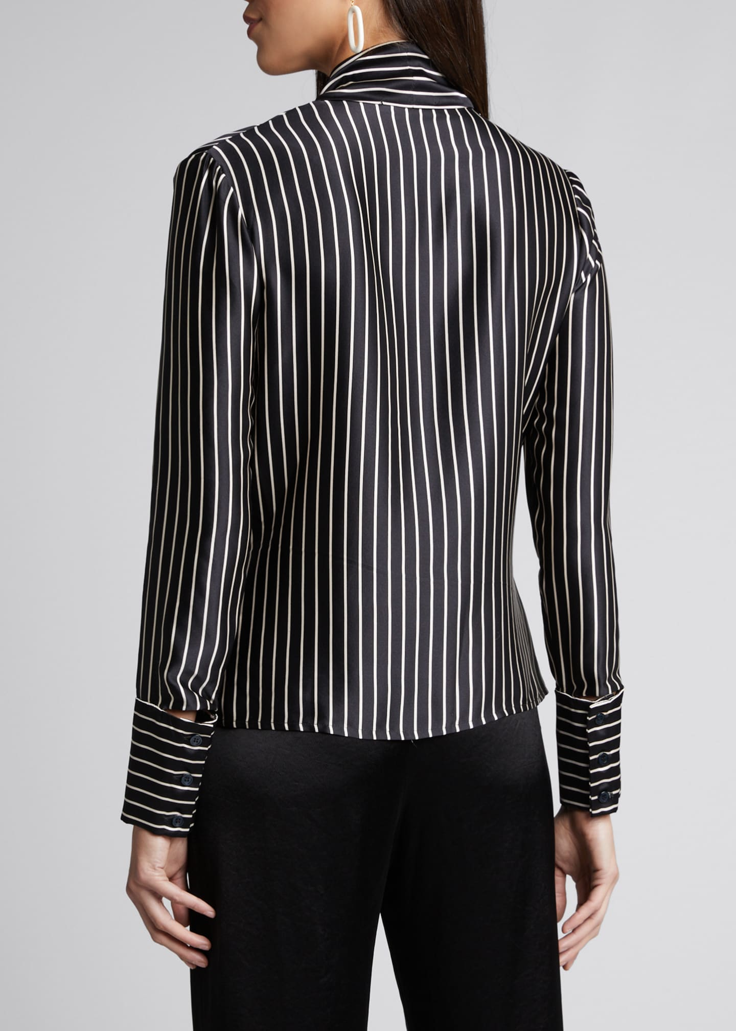 Image 2 of 5: Nia Striped Charmeuse Bow Top