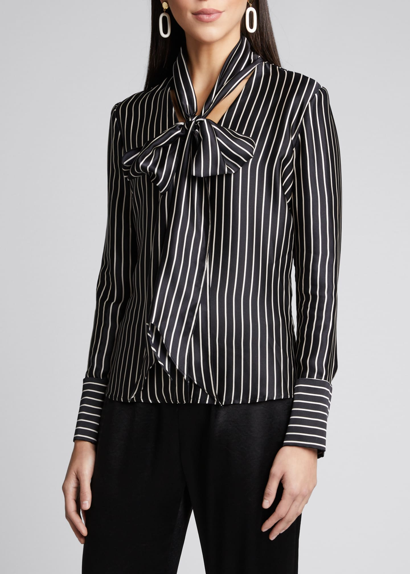 Image 3 of 5: Nia Striped Charmeuse Bow Top