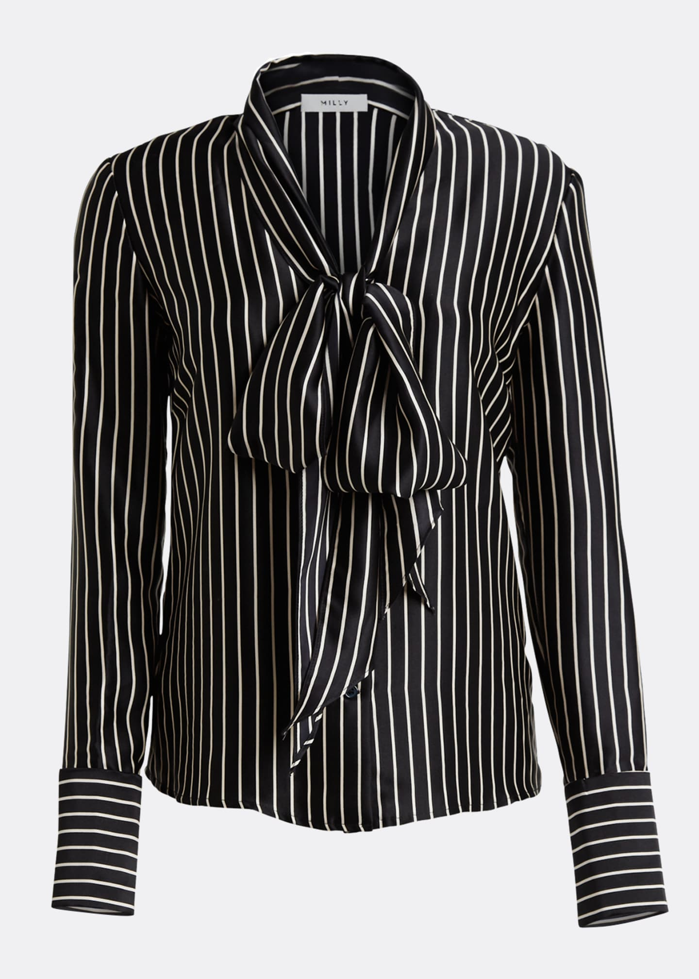 Image 5 of 5: Nia Striped Charmeuse Bow Top