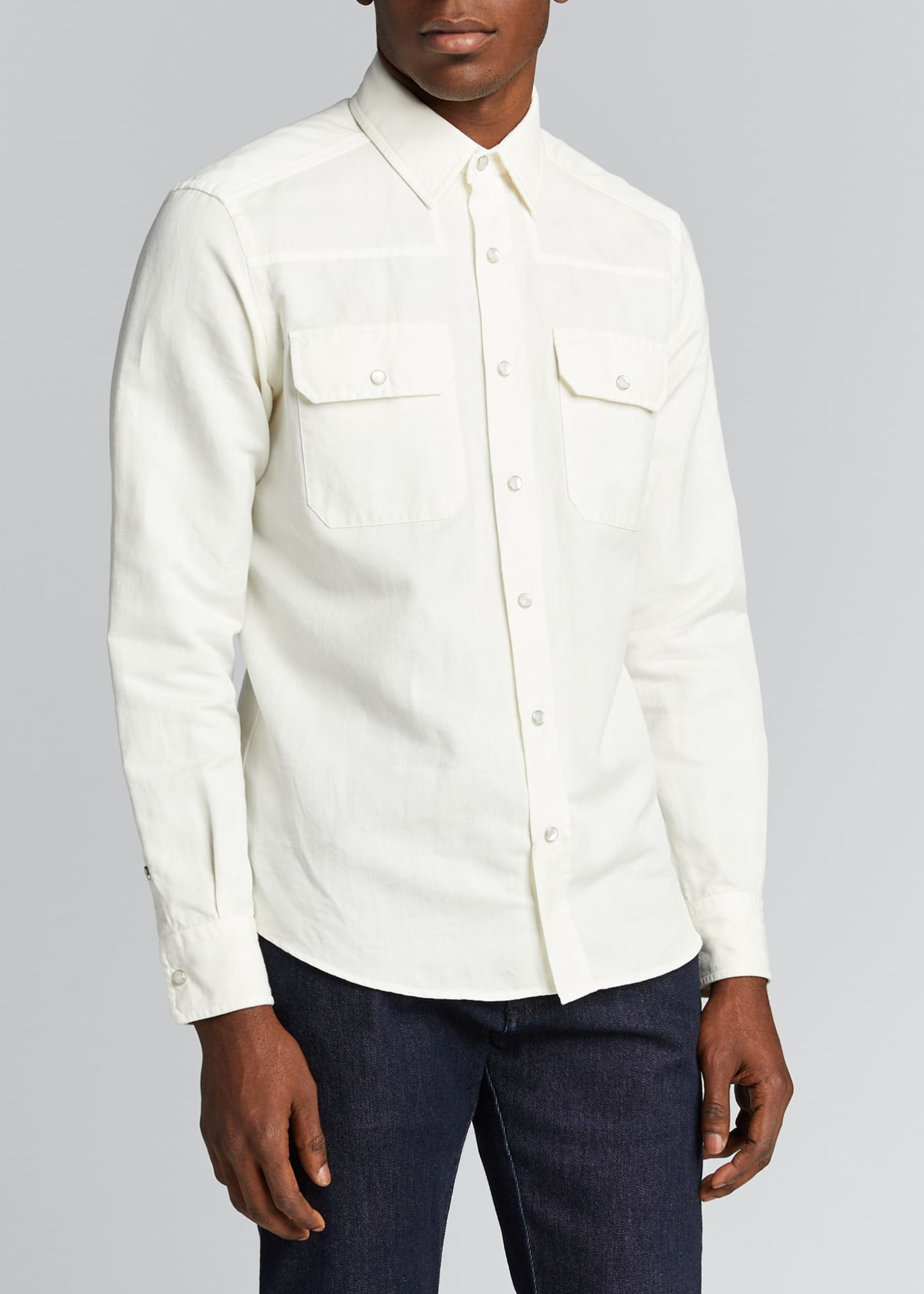 Image 3 of 4: Men's Solid Denim Trim-Fit Sport Shirt