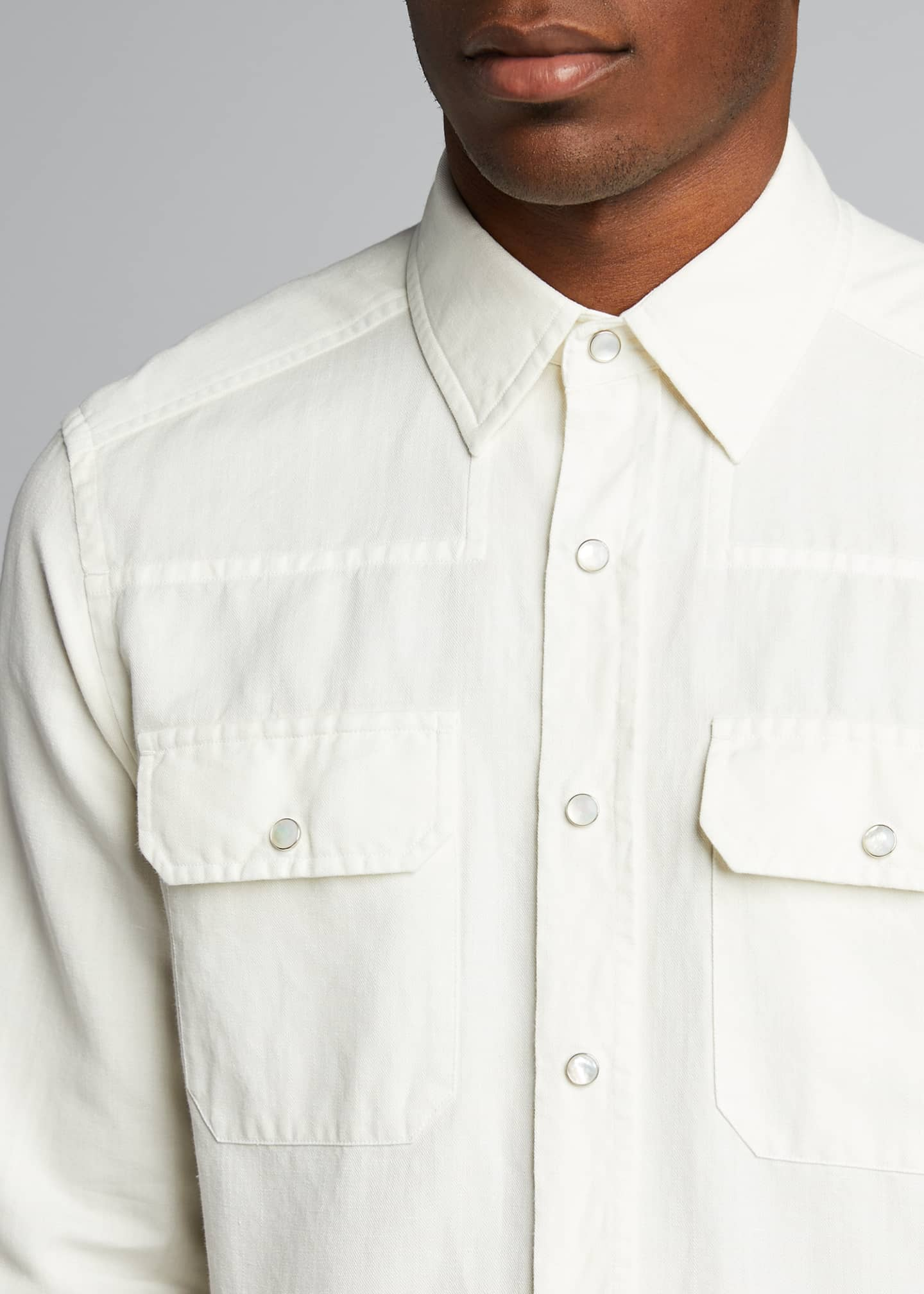 Image 4 of 4: Men's Solid Denim Trim-Fit Sport Shirt