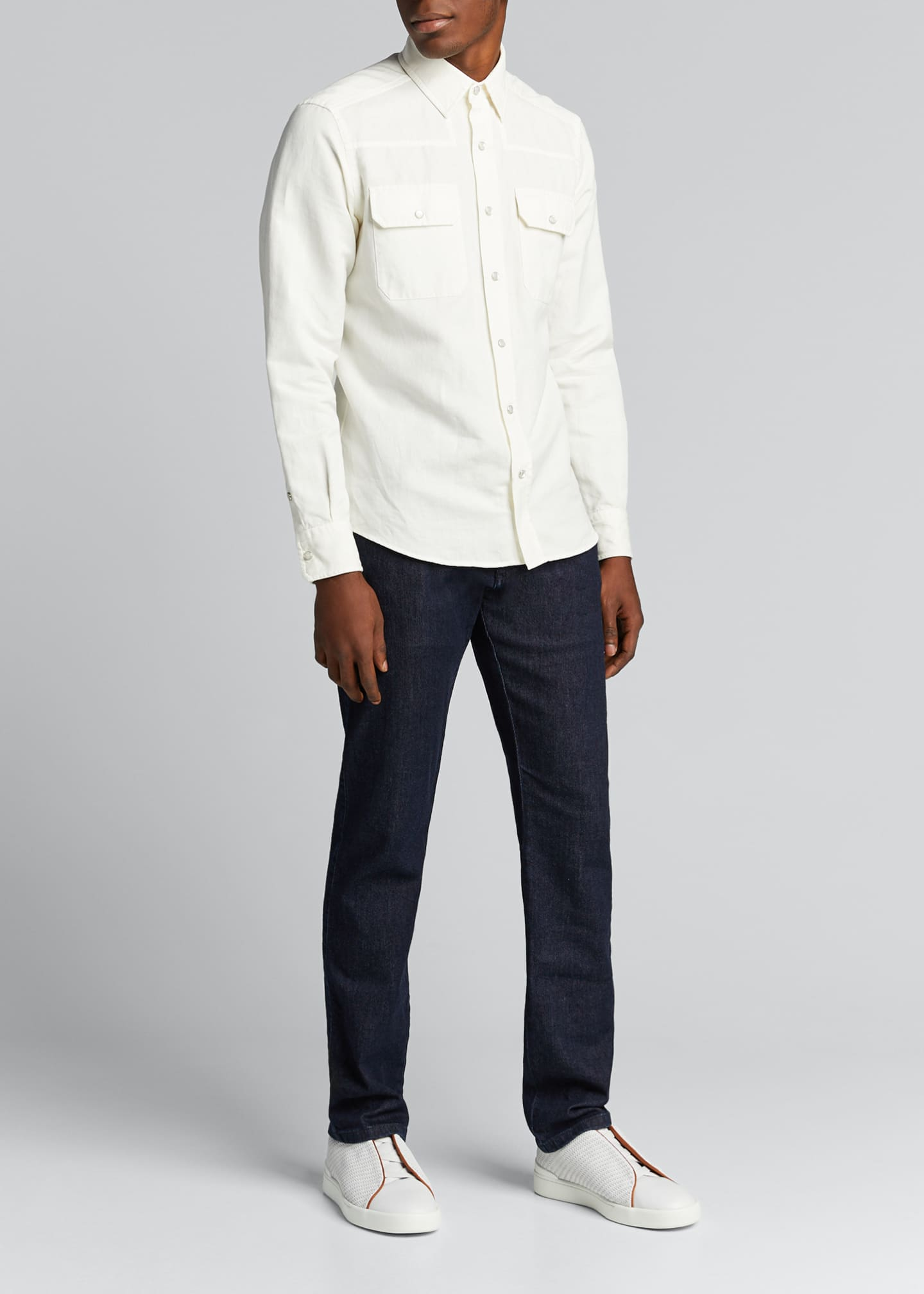 Image 1 of 4: Men's Solid Denim Trim-Fit Sport Shirt