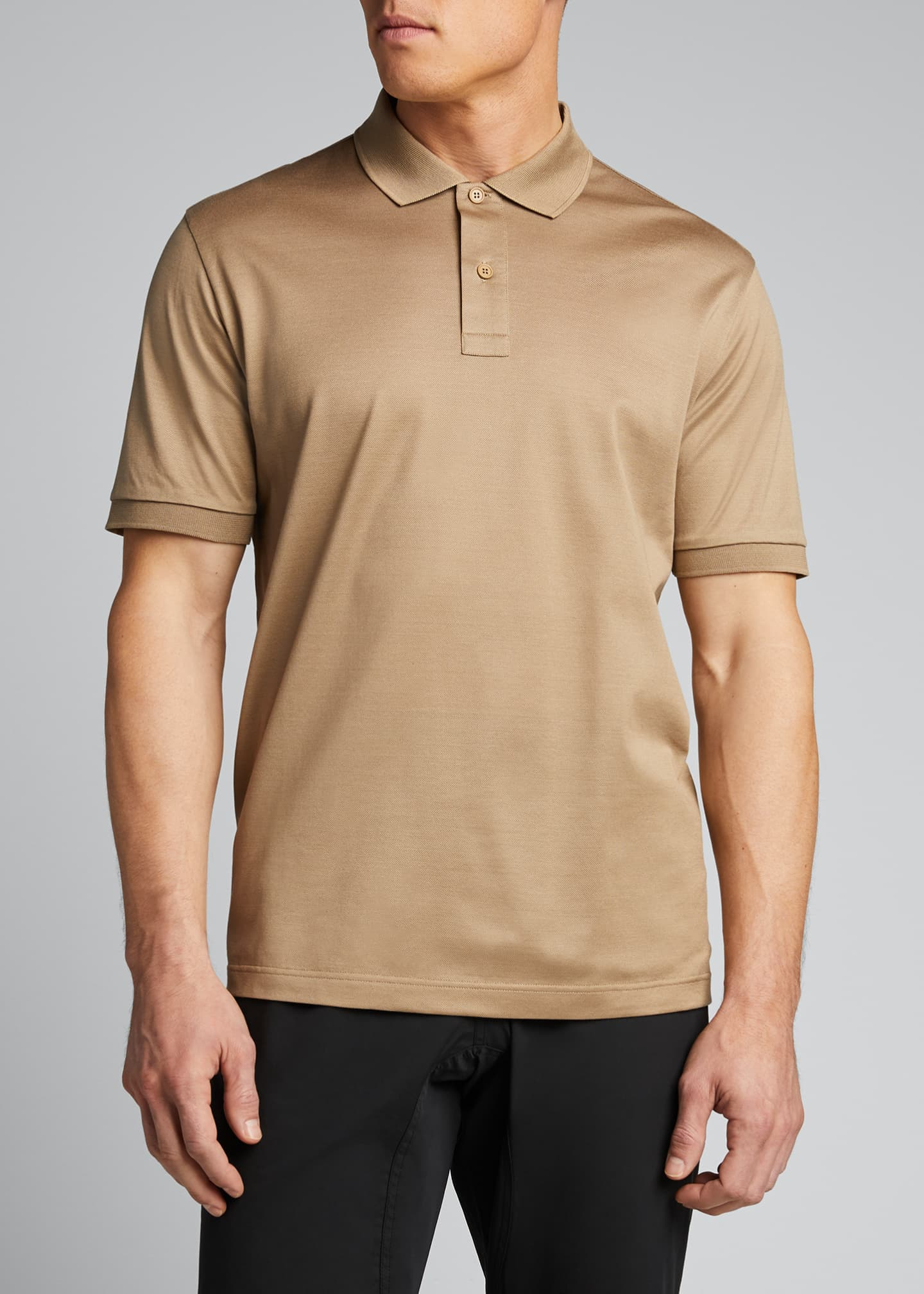 Image 3 of 5: Men's Solid Pique Polo Shirt