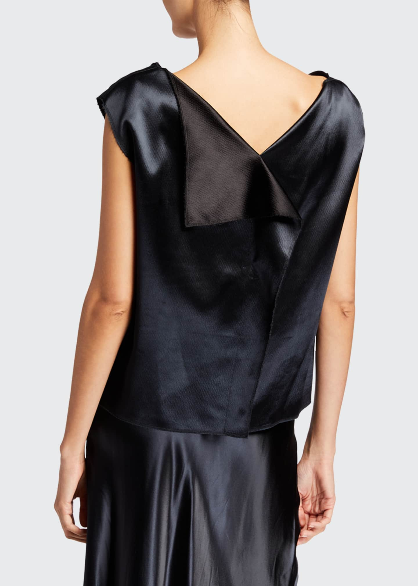 Image 2 of 2: Ori Hammered-Satin Cap-Sleeve Top