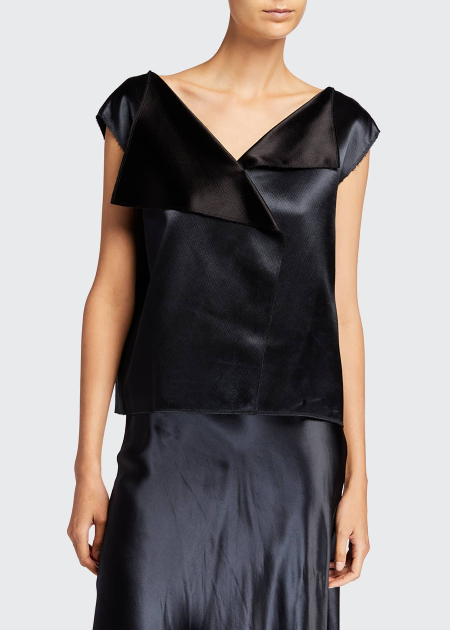 Image 1 of 2: Ori Hammered-Satin Cap-Sleeve Top